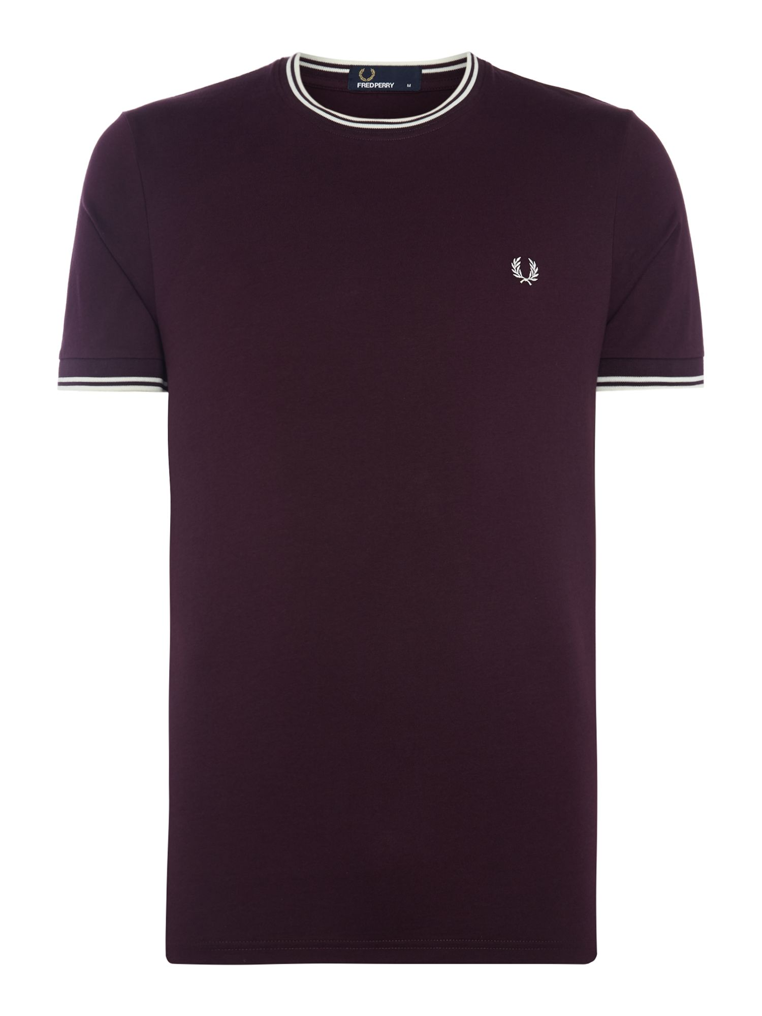 Men's Fred Perry Crew neck twin tipped collar t-shirt, Mahogany