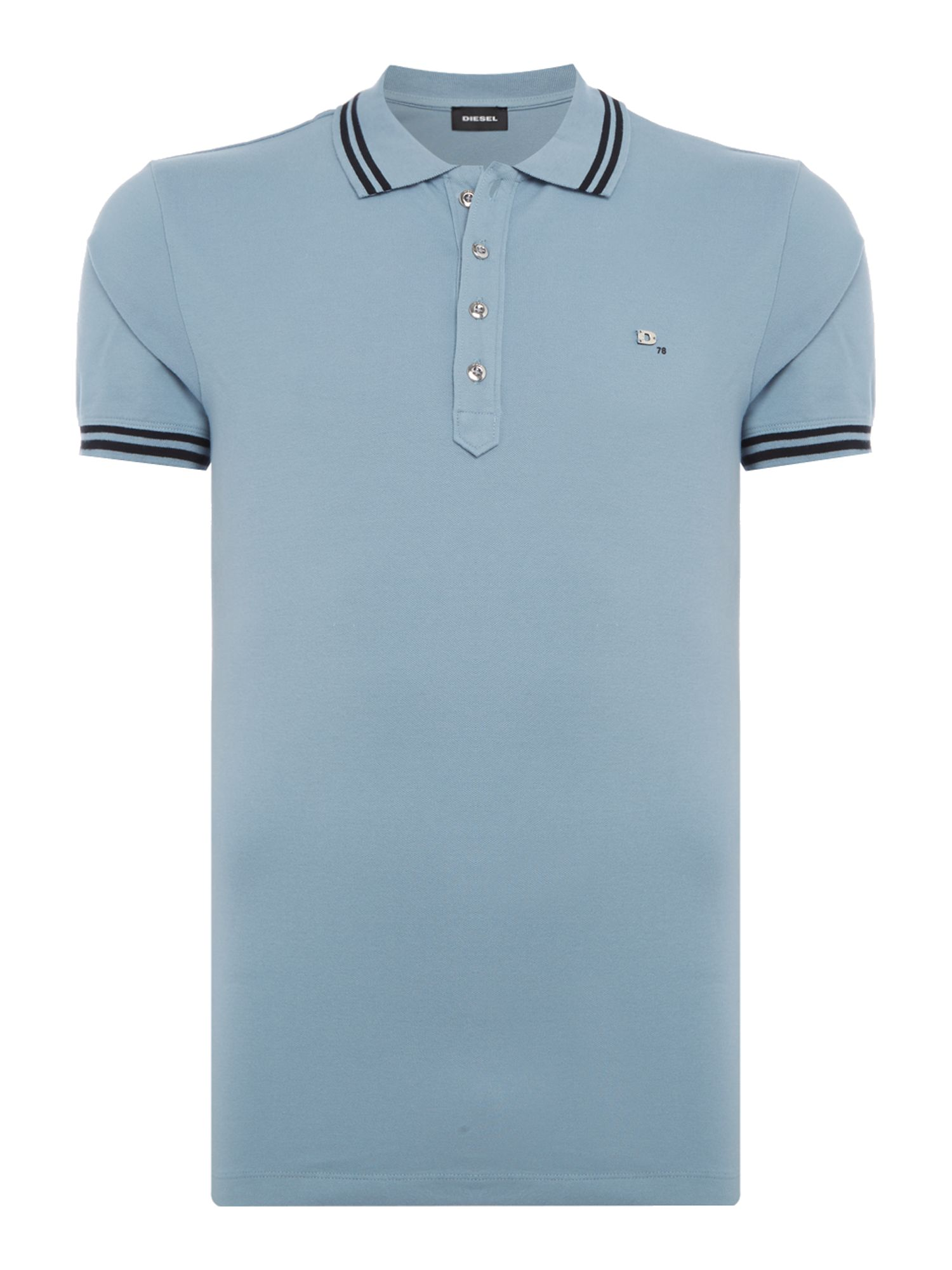 Men's Diesel Tipped Collar Logo Polo, Sky