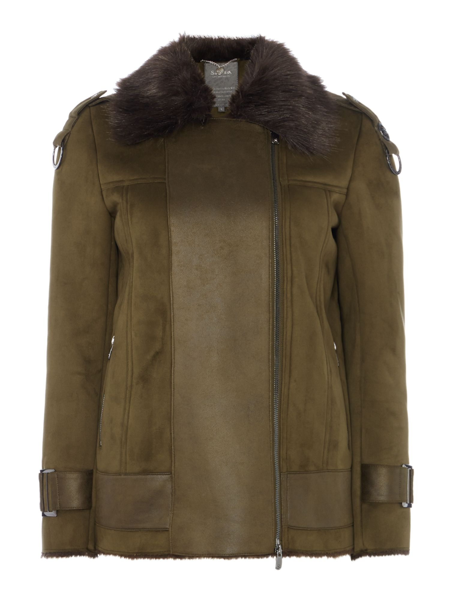 Long Sleeve Faux Shearling Aviator Jacket, Khaki