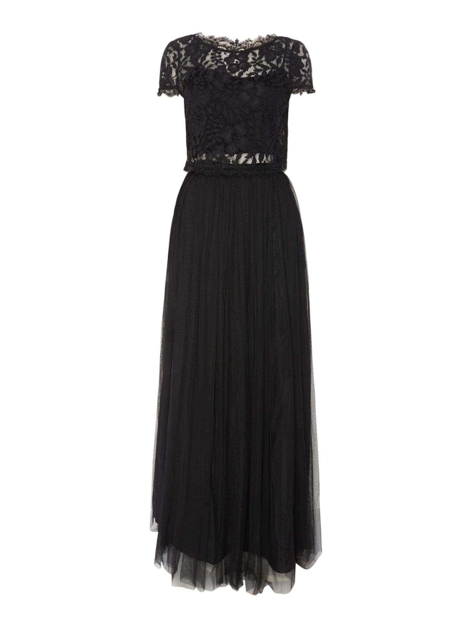 Adrianna Papell Lace top pleated maxi dress, Black