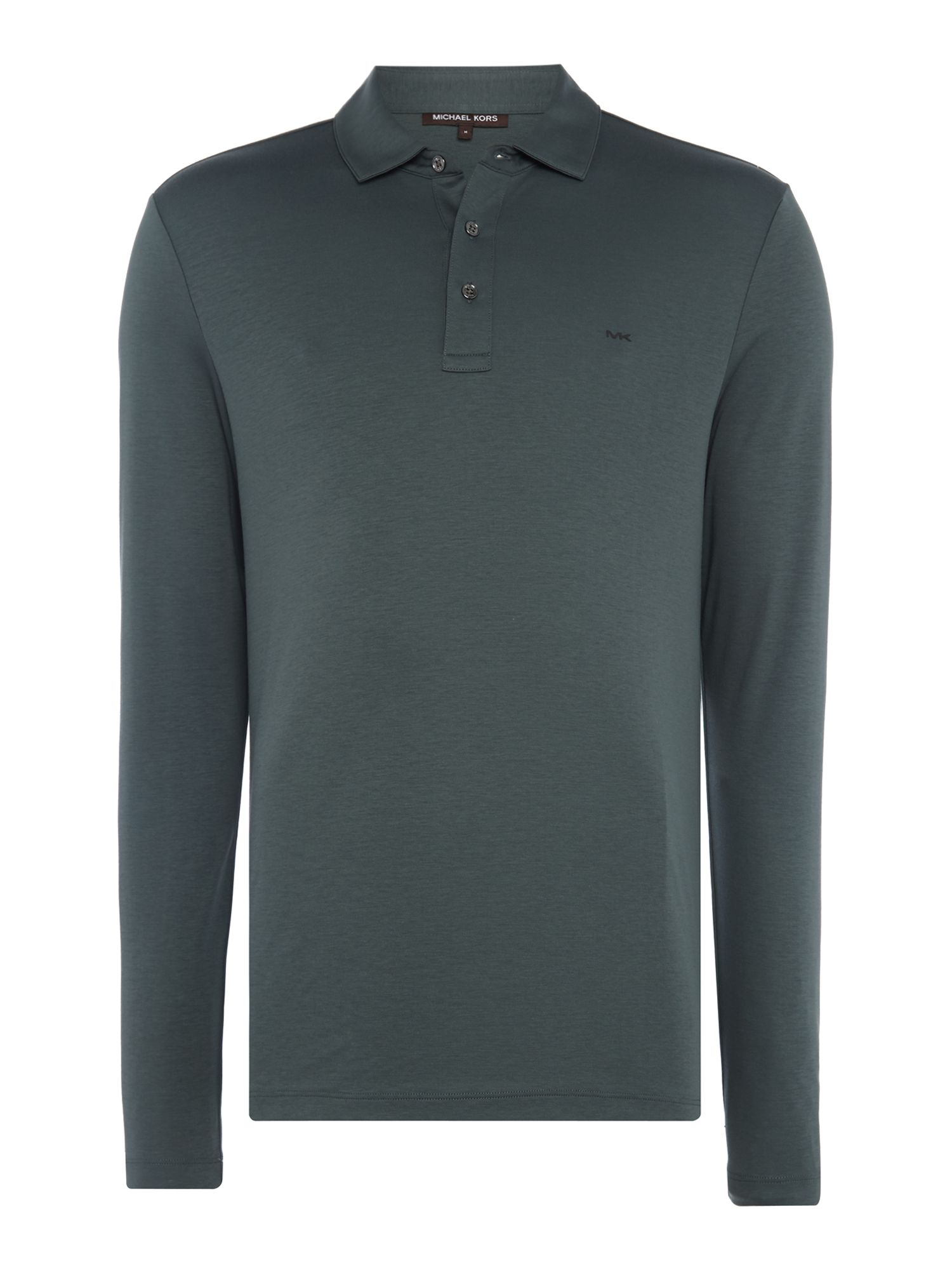 Men's Michael Kors Long Sleeve Slim Fit Polo Shirt, Dark Green