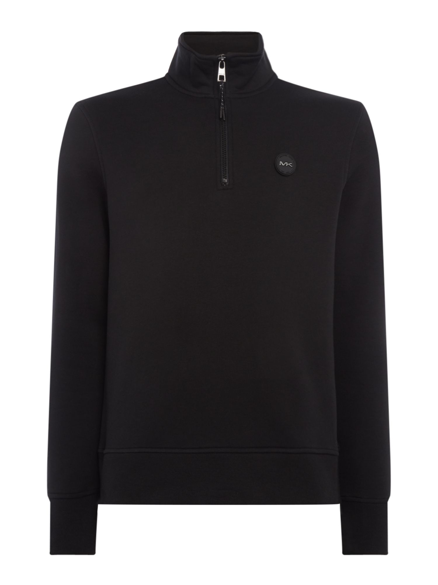 Men's Michael Kors Large arm logo zip-up funnel neck sweatshirt, Black