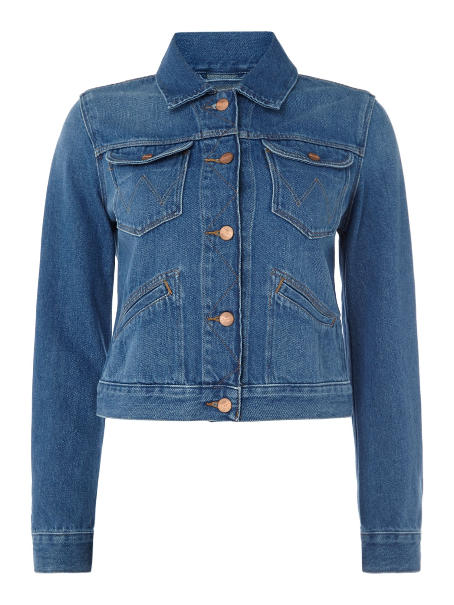 Wrangler Long Sleeve Cropped Denim Jacket in Retro Vibes, Denim Mid Wash