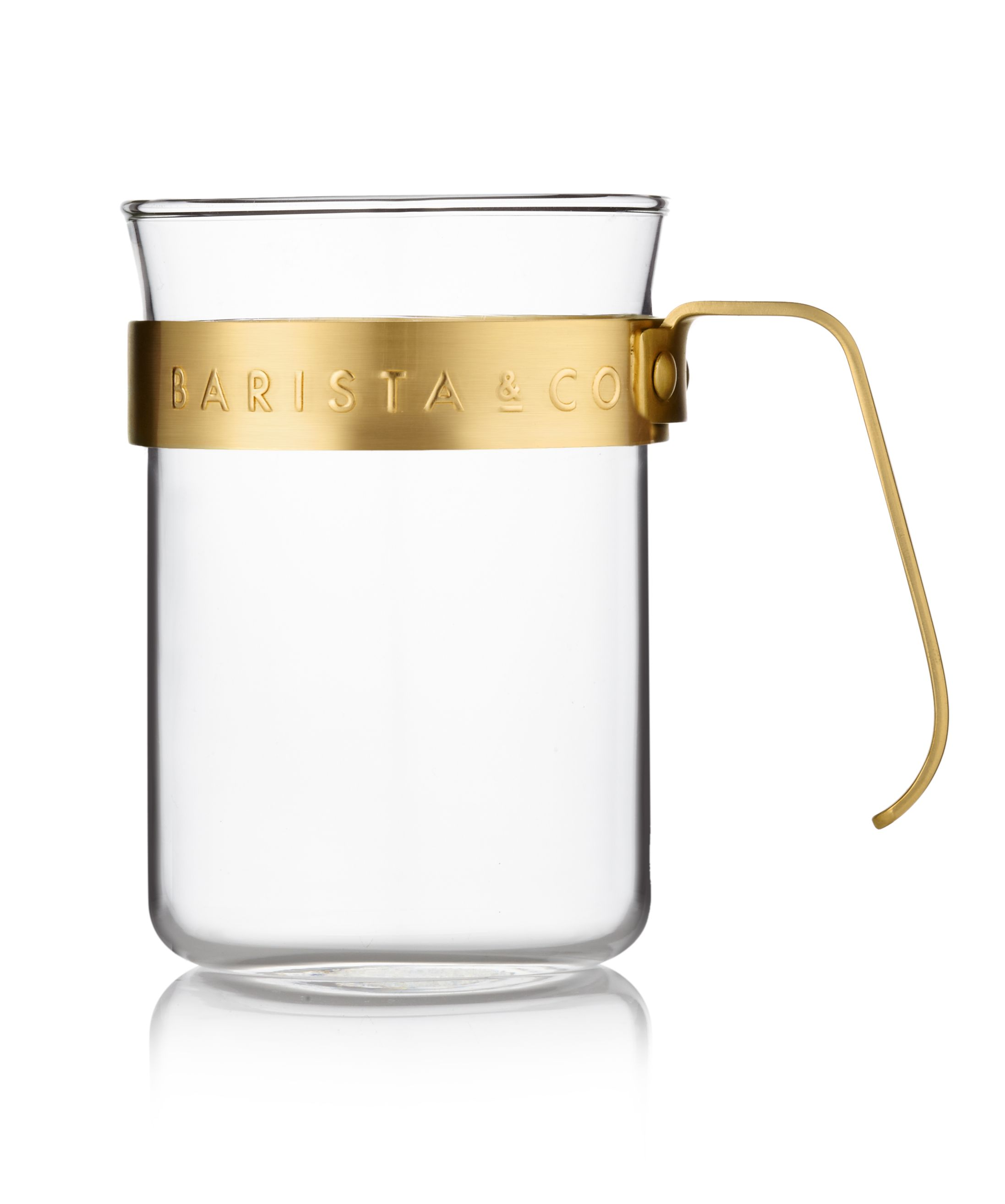 Image of Barista & Co Set of 2 Metal Frame Glass Cups, Midnight Gold, Gold