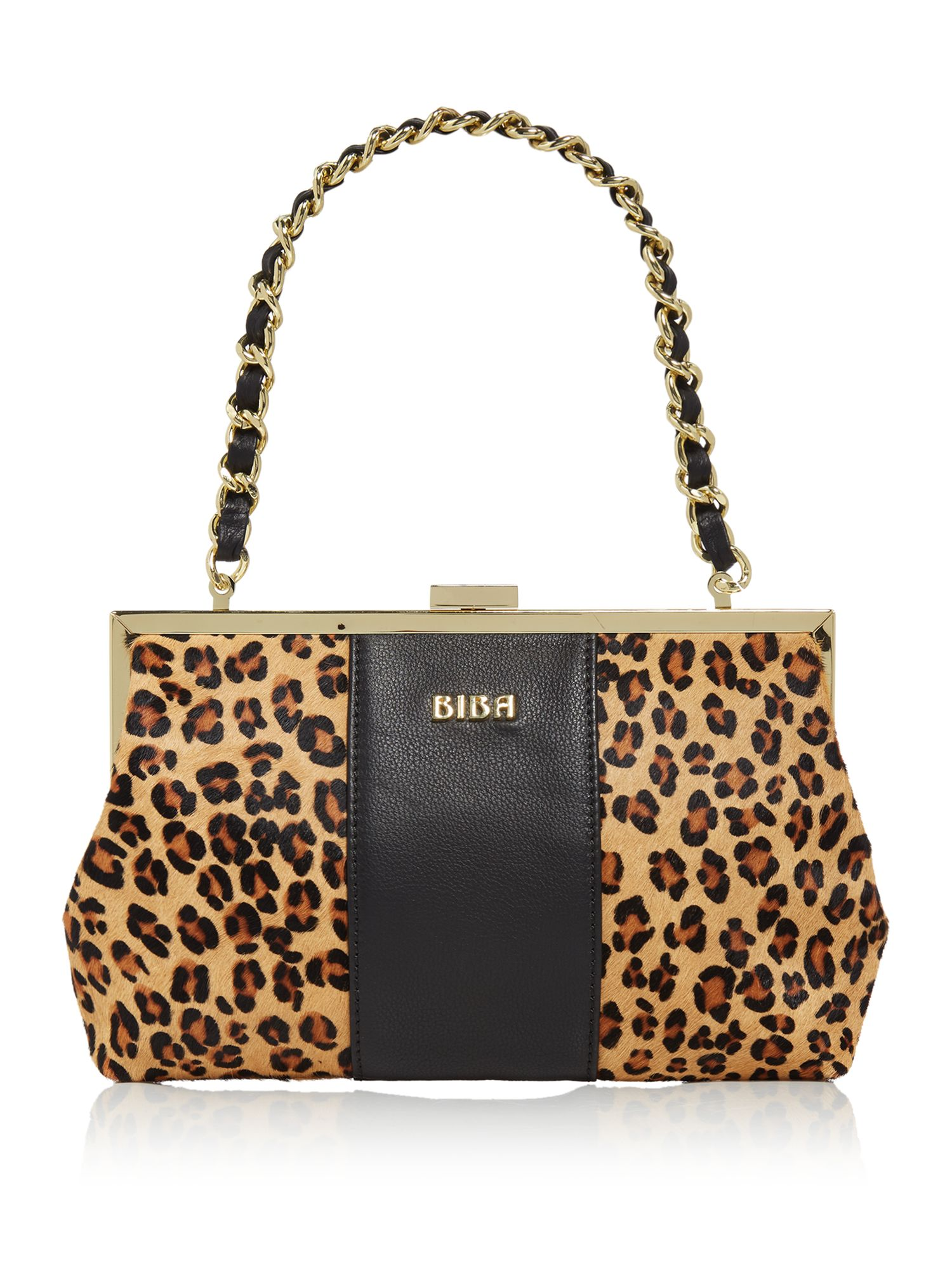 Biba Lottie frame clutch bag, Leopard
