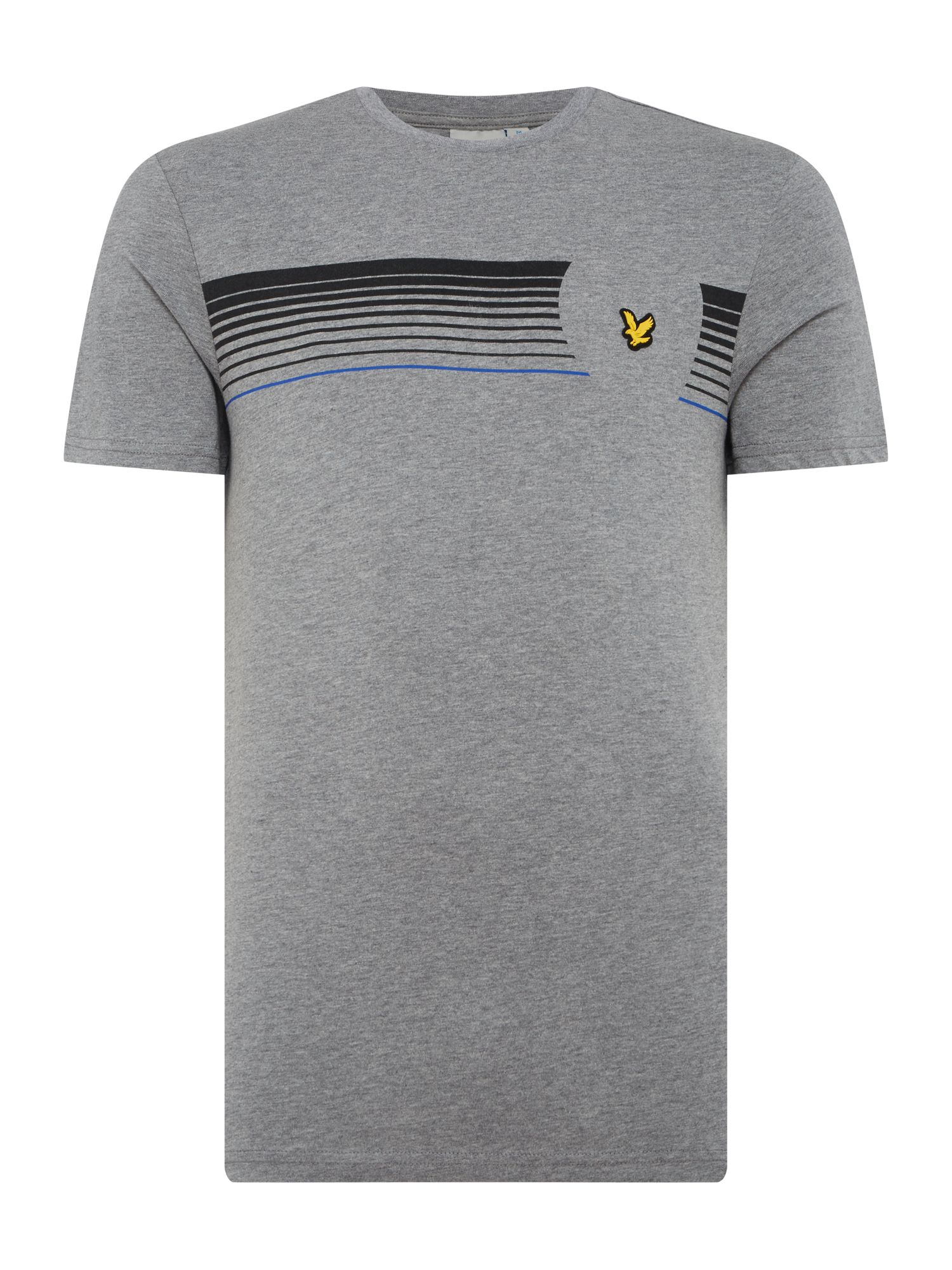Men's Lyle and Scott Robson graphic print short sleeve tshirt, Grey Marl