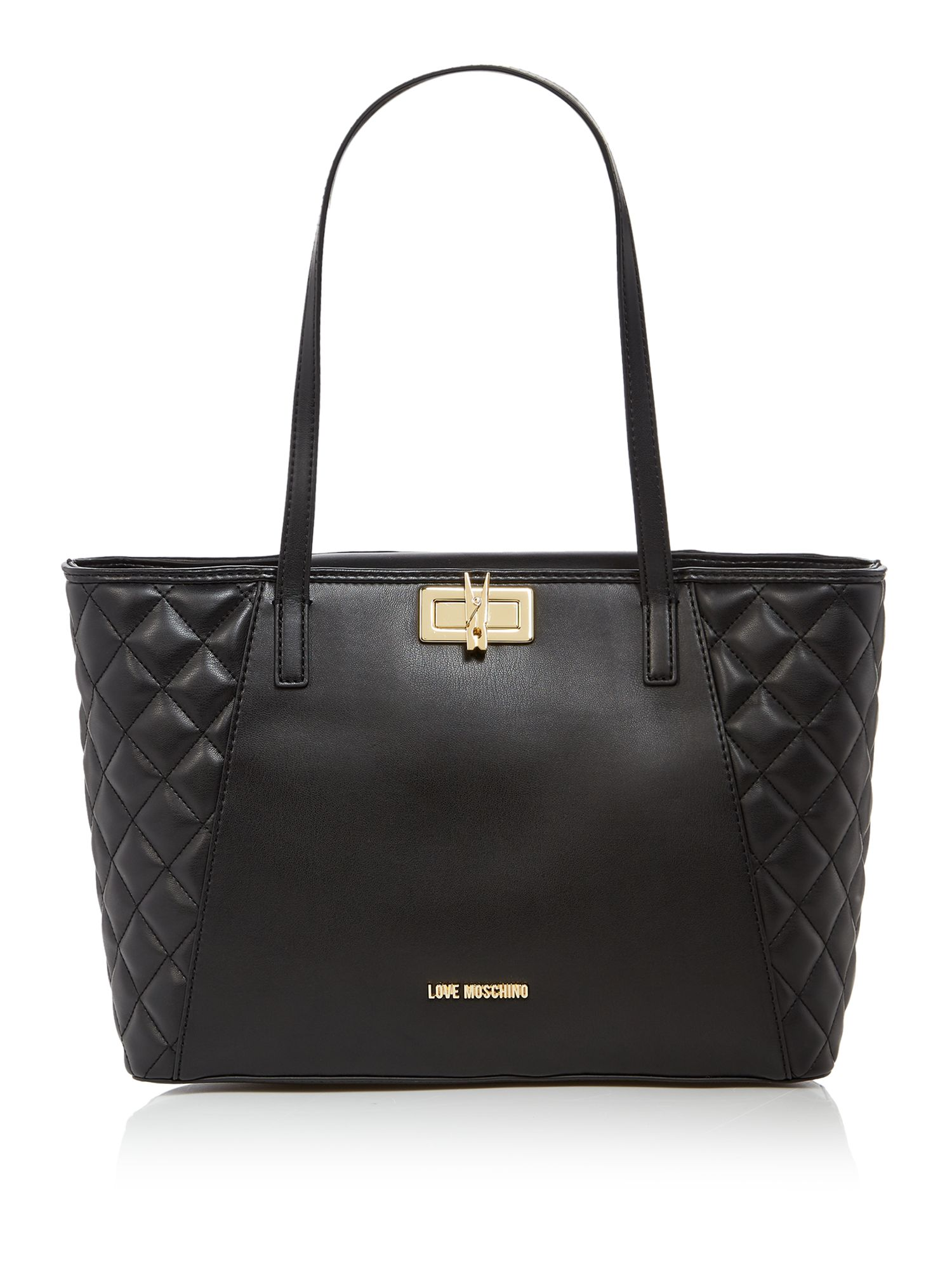 Love Moschino Clothes peg large tote bag, Black