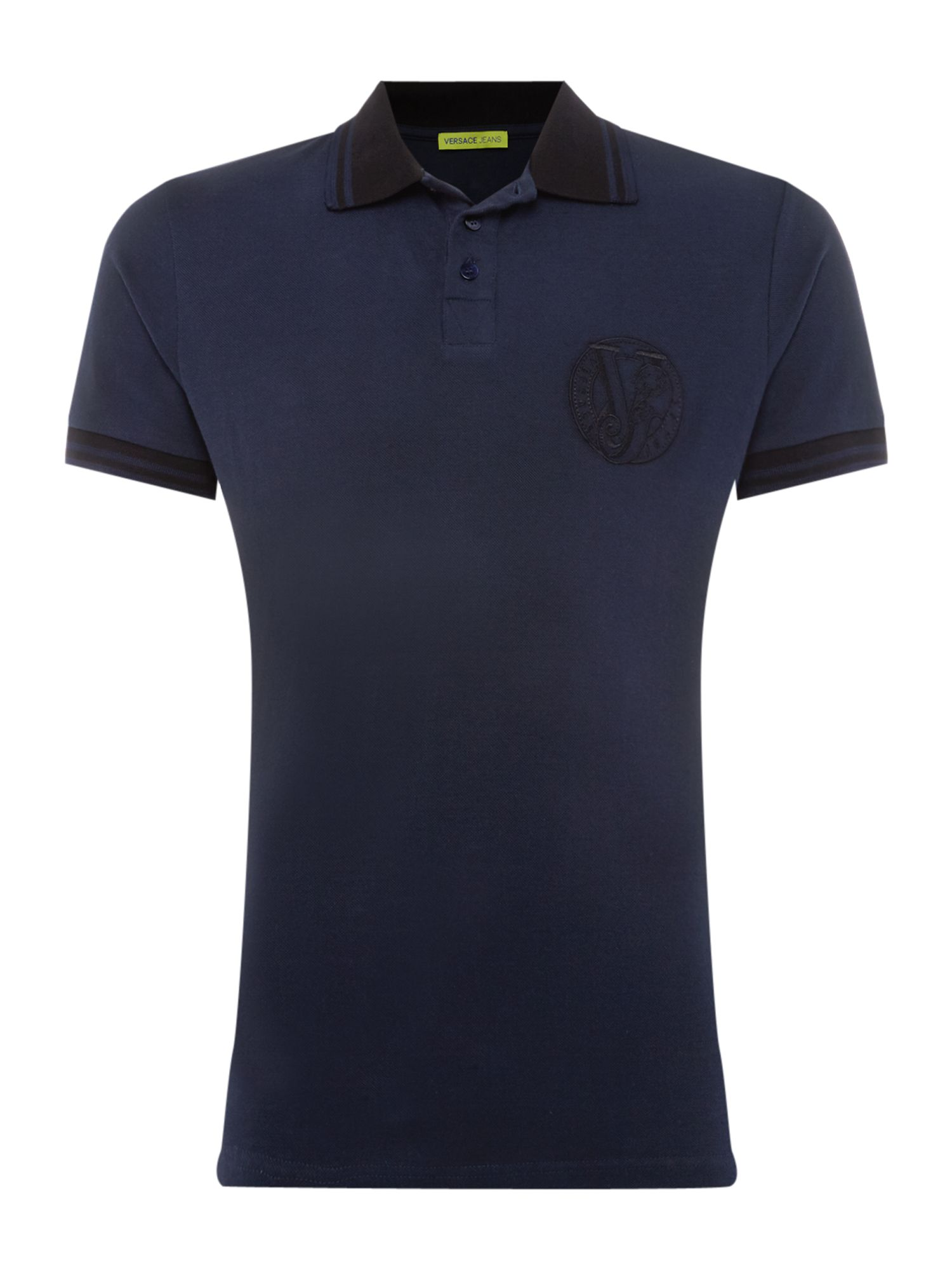Men's Versace Jeans Tipped large logo polo shirt, Blue
