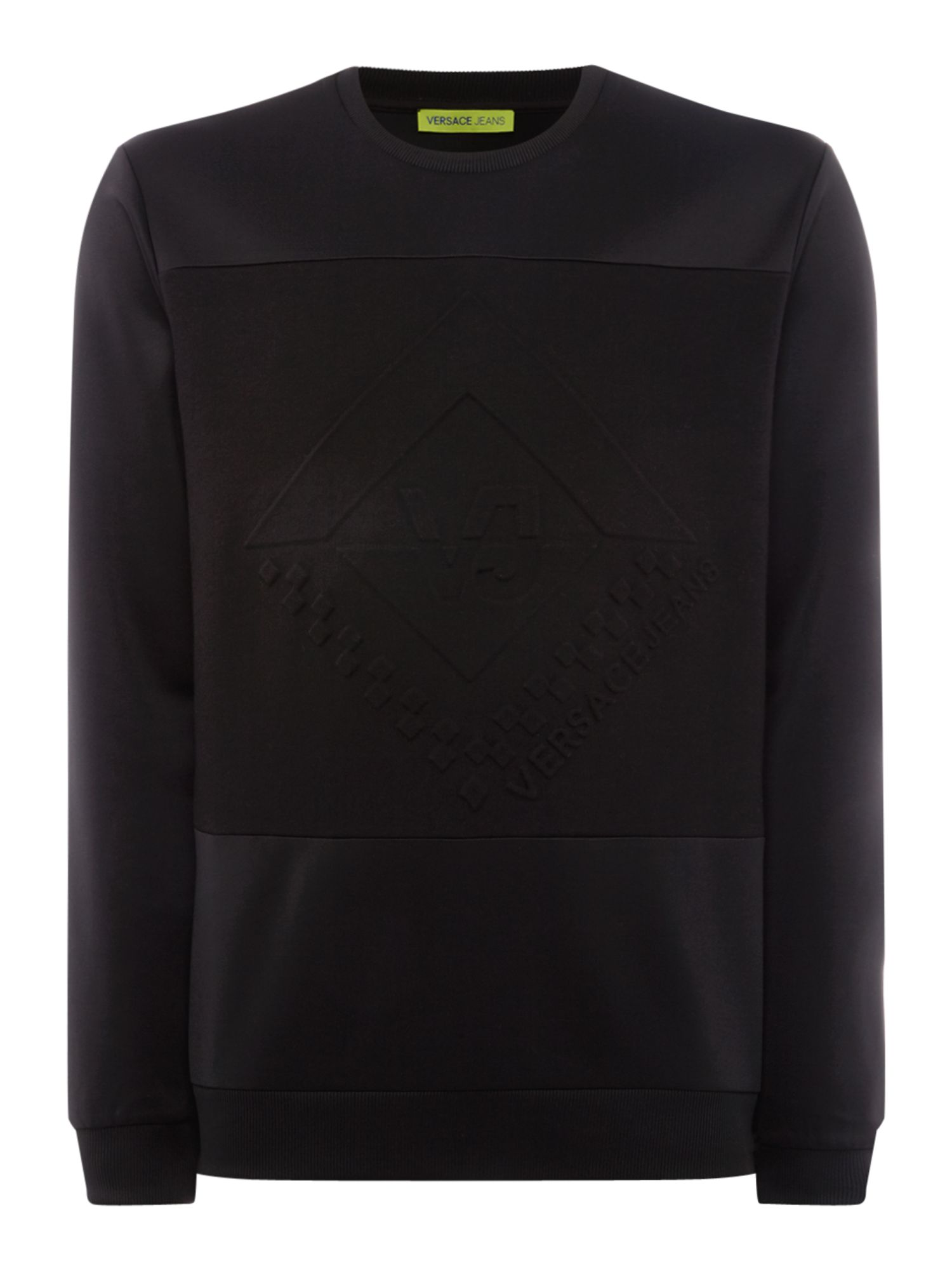 Men's Versace Jeans Embossed logo crew neck sweatshirt, Black