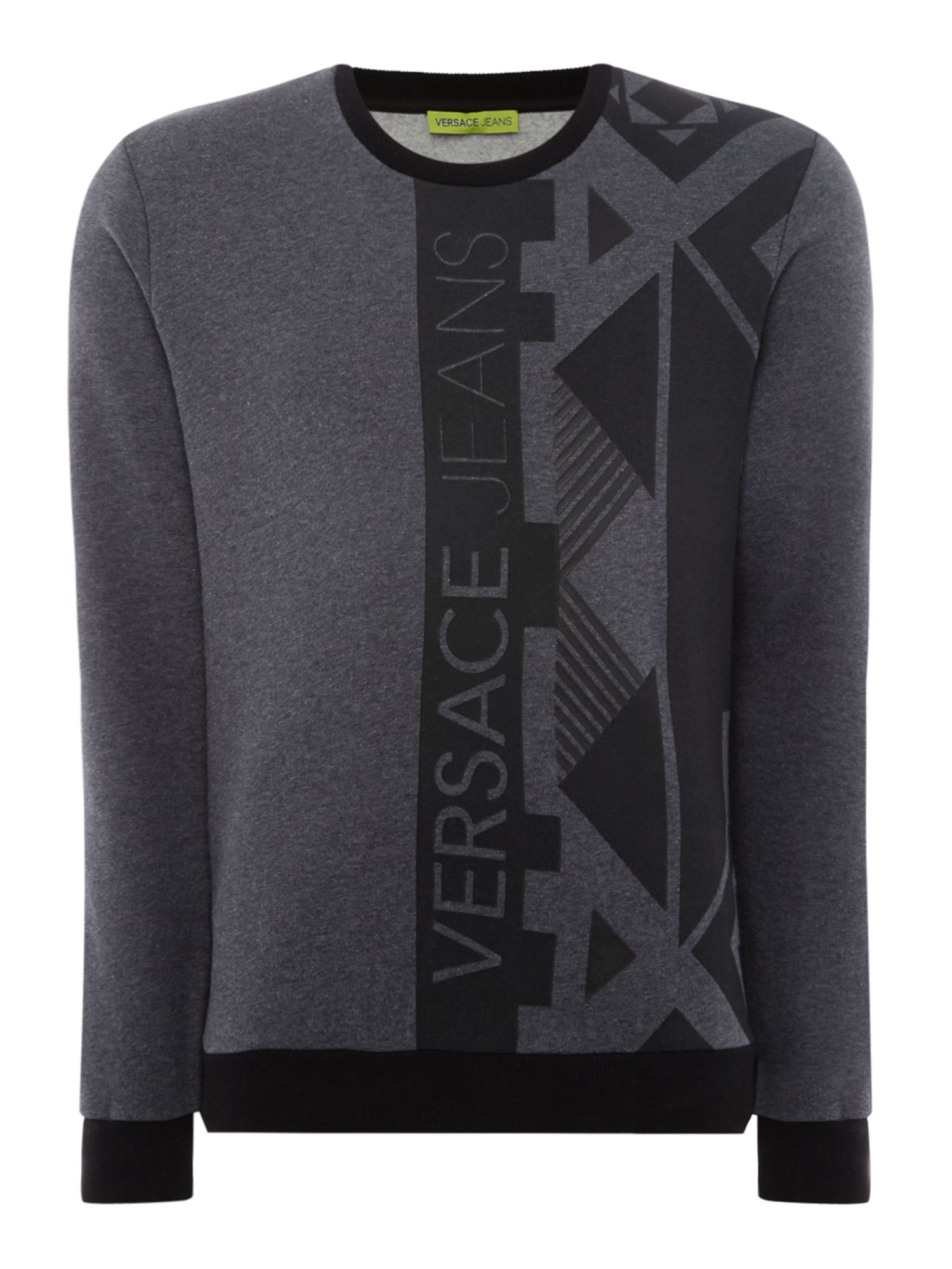 Men's Versace Jeans Geo graphic crew neck sweatshirt, Grey Marl
