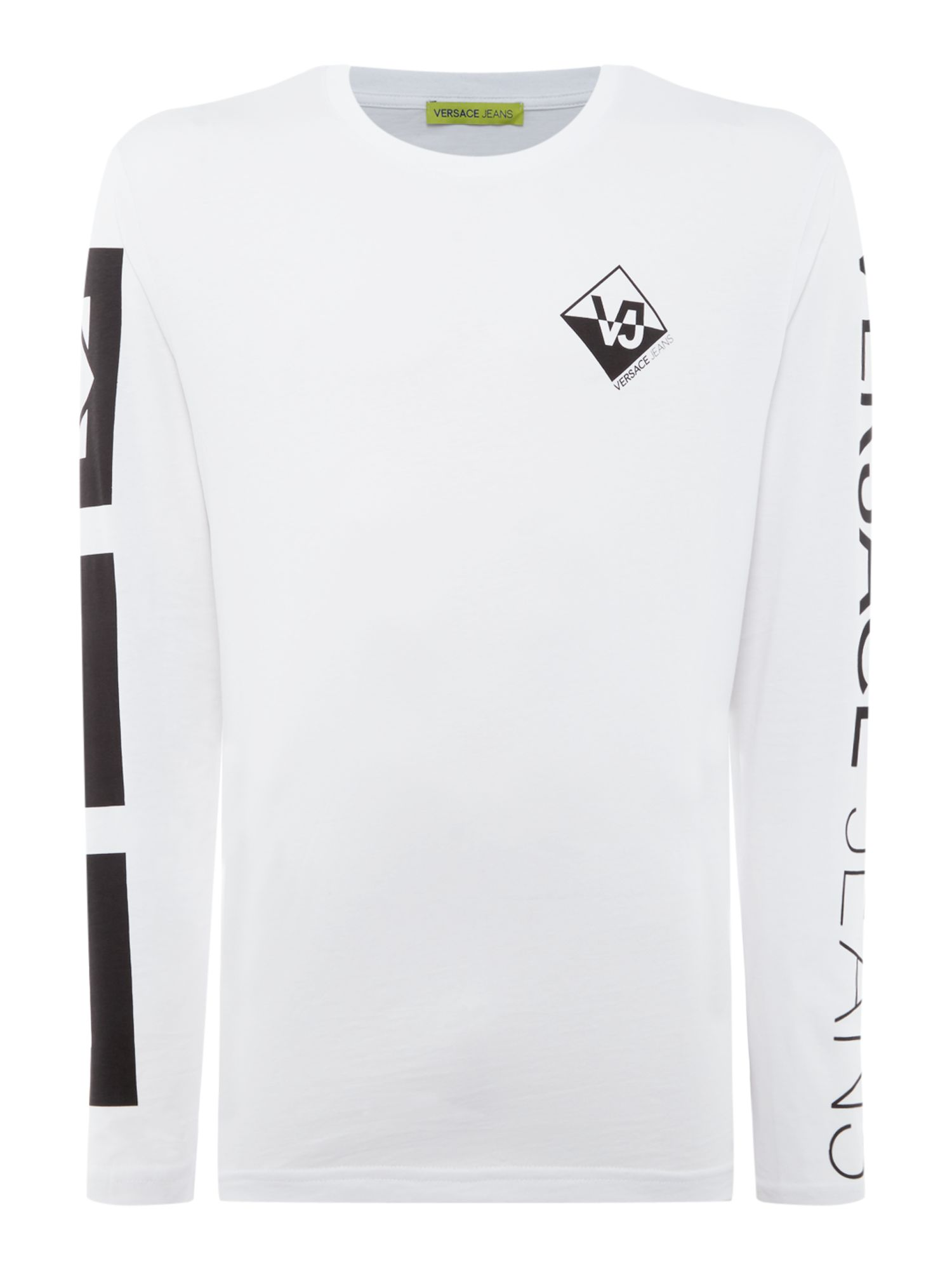 Men's Versace Jeans Logo arm long sleeve crew neck t-shirt, White