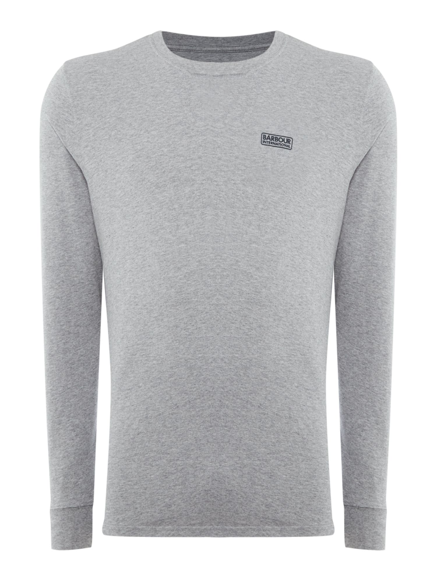 Men's Barbour Long sleeve international logo tee, Grey Marl