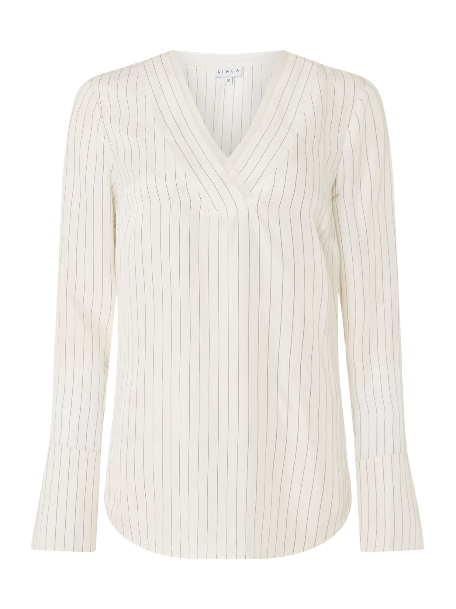 Linea Bertie v neck stripe blouse, White