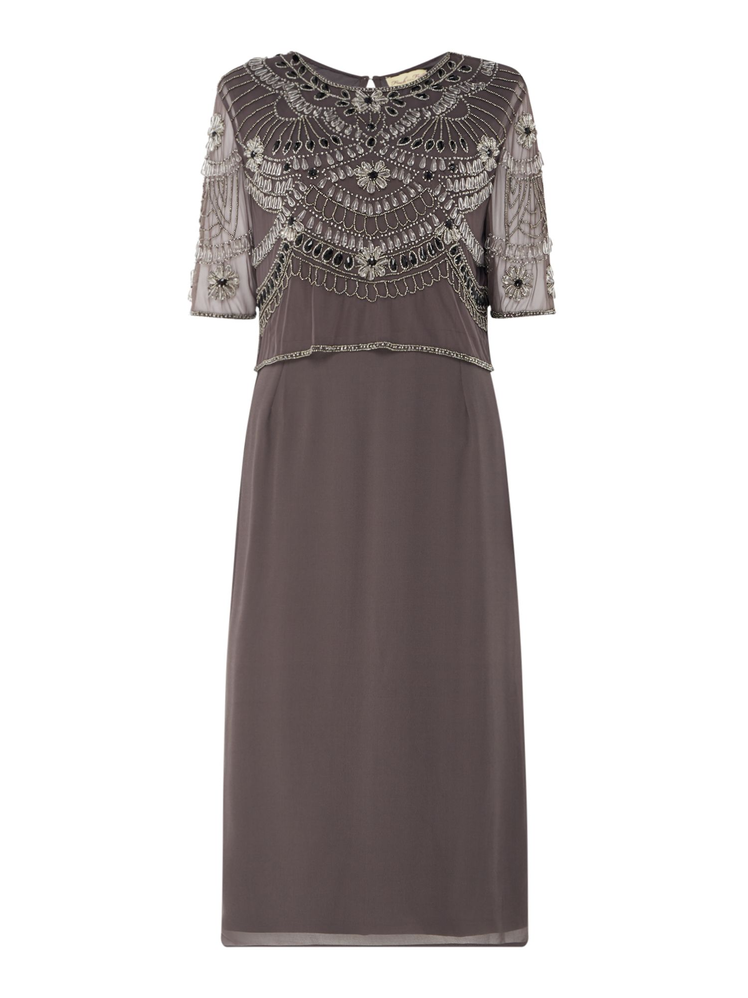 Frock and Frill Embellished shift dress, Grey