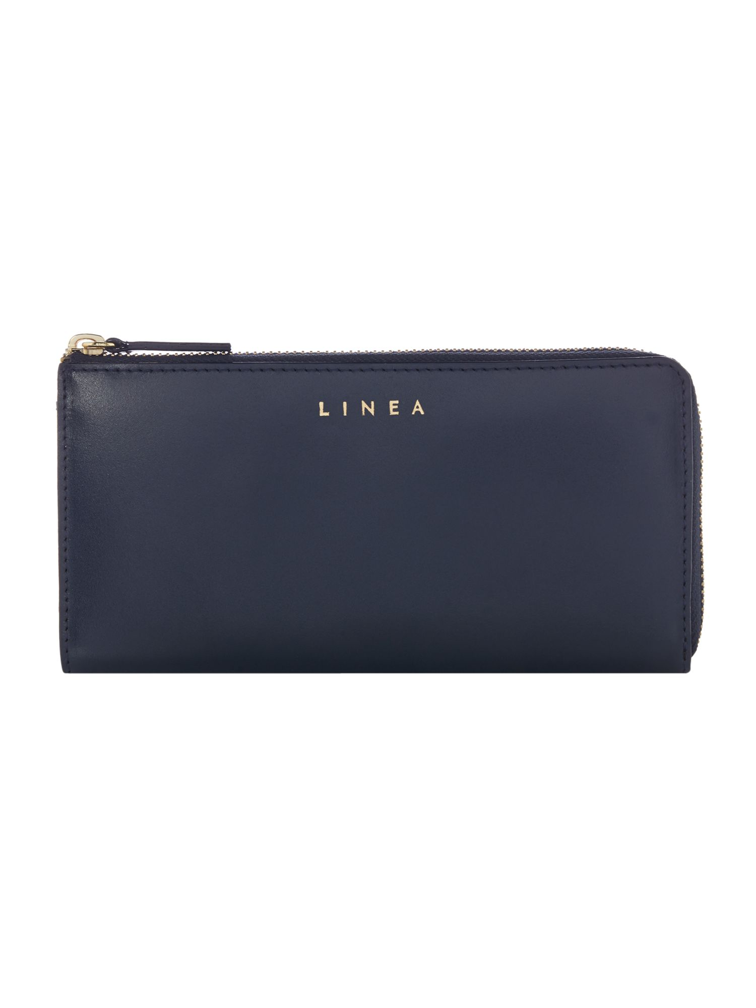 Linea Bennie Leather Zip Around Wallet, Blue