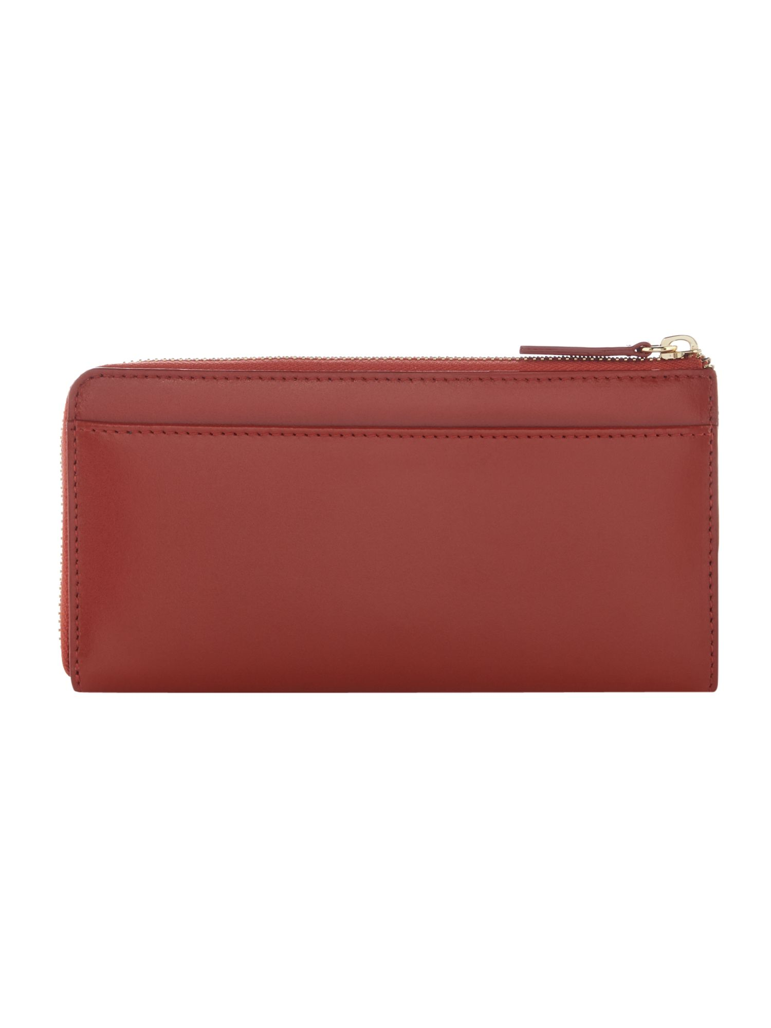 Linea Bennie Leather Zip Around Wallet, Orange