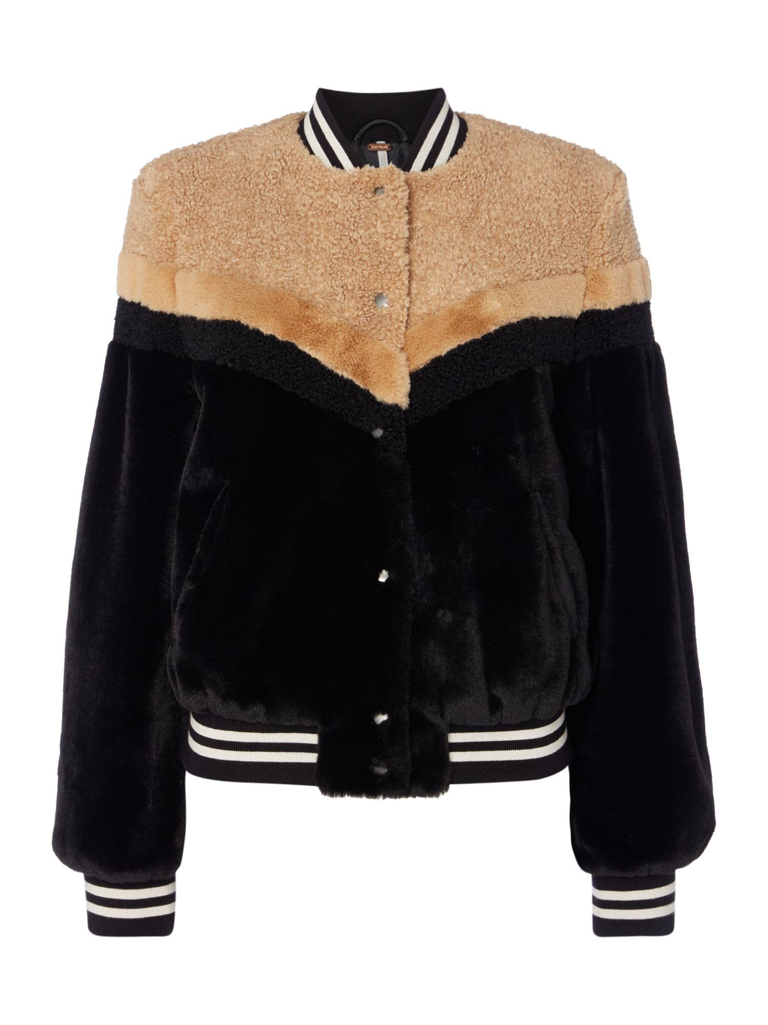 Free People Faux Fur Bomber Jacket With Mixed Fur Pannel, Black