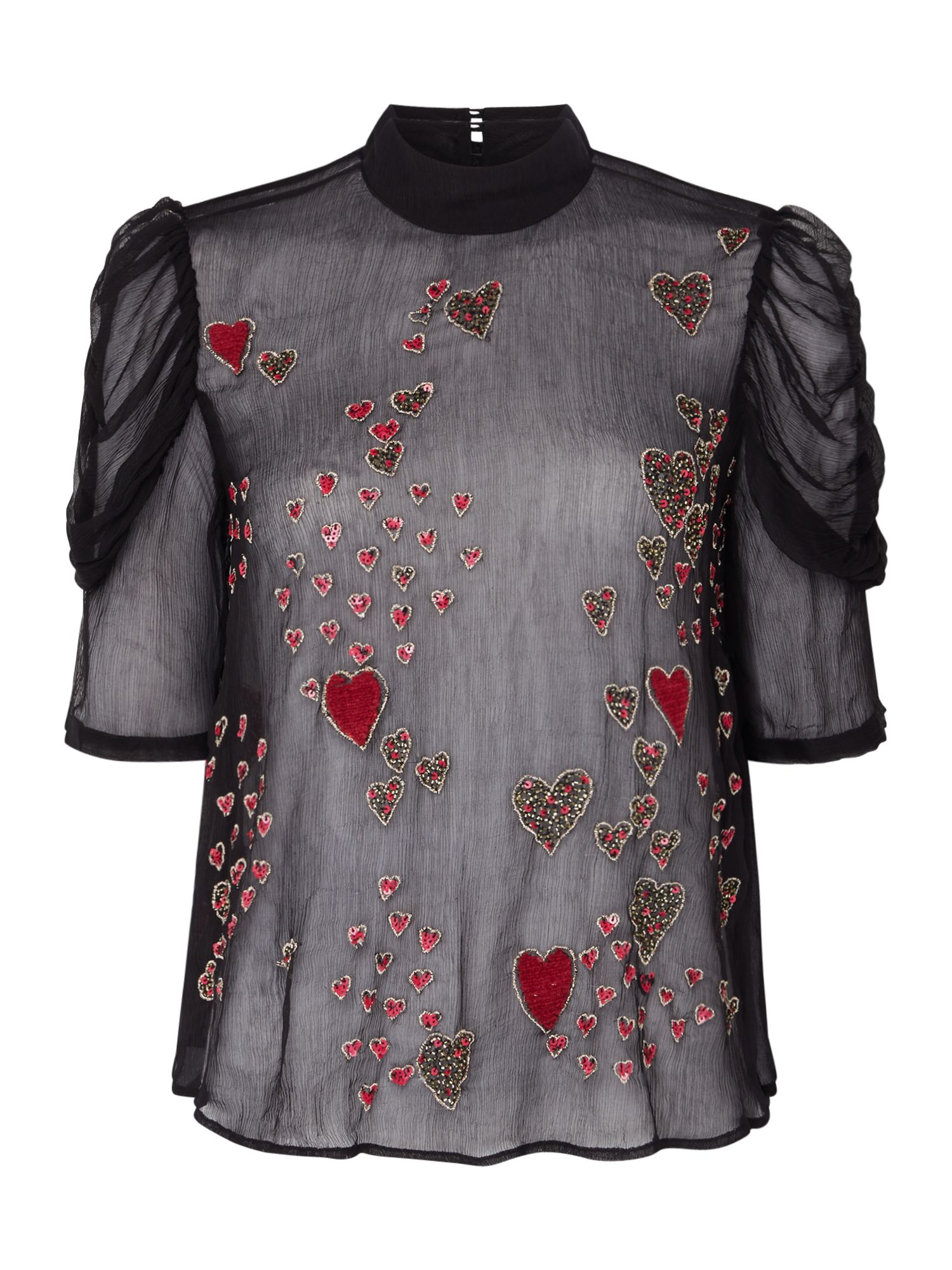 Free People So In Love Heart Embroidered Sheer Blouse, Black