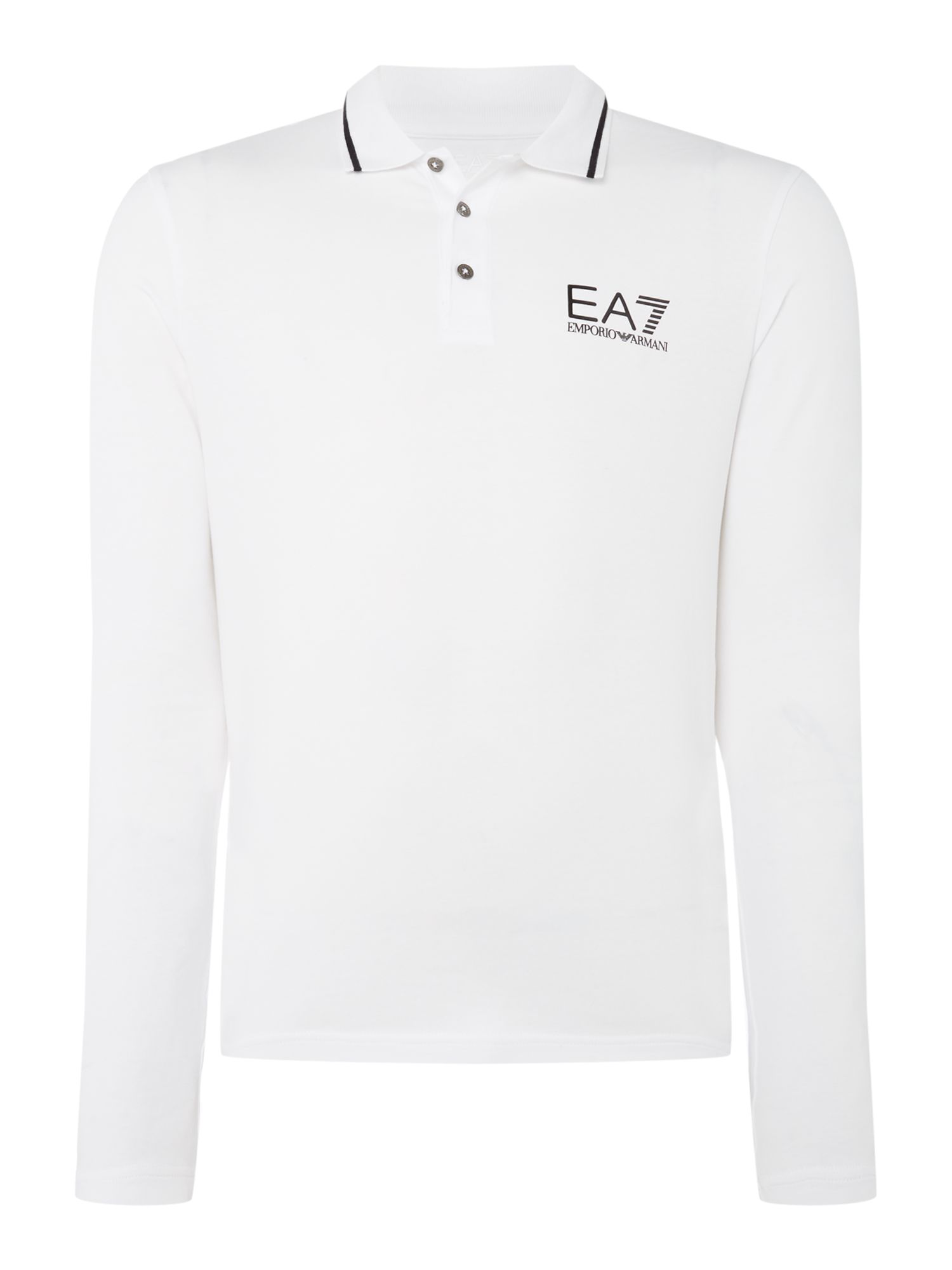 Men's EA7 Long sleeve core ID stop stretch polo, White