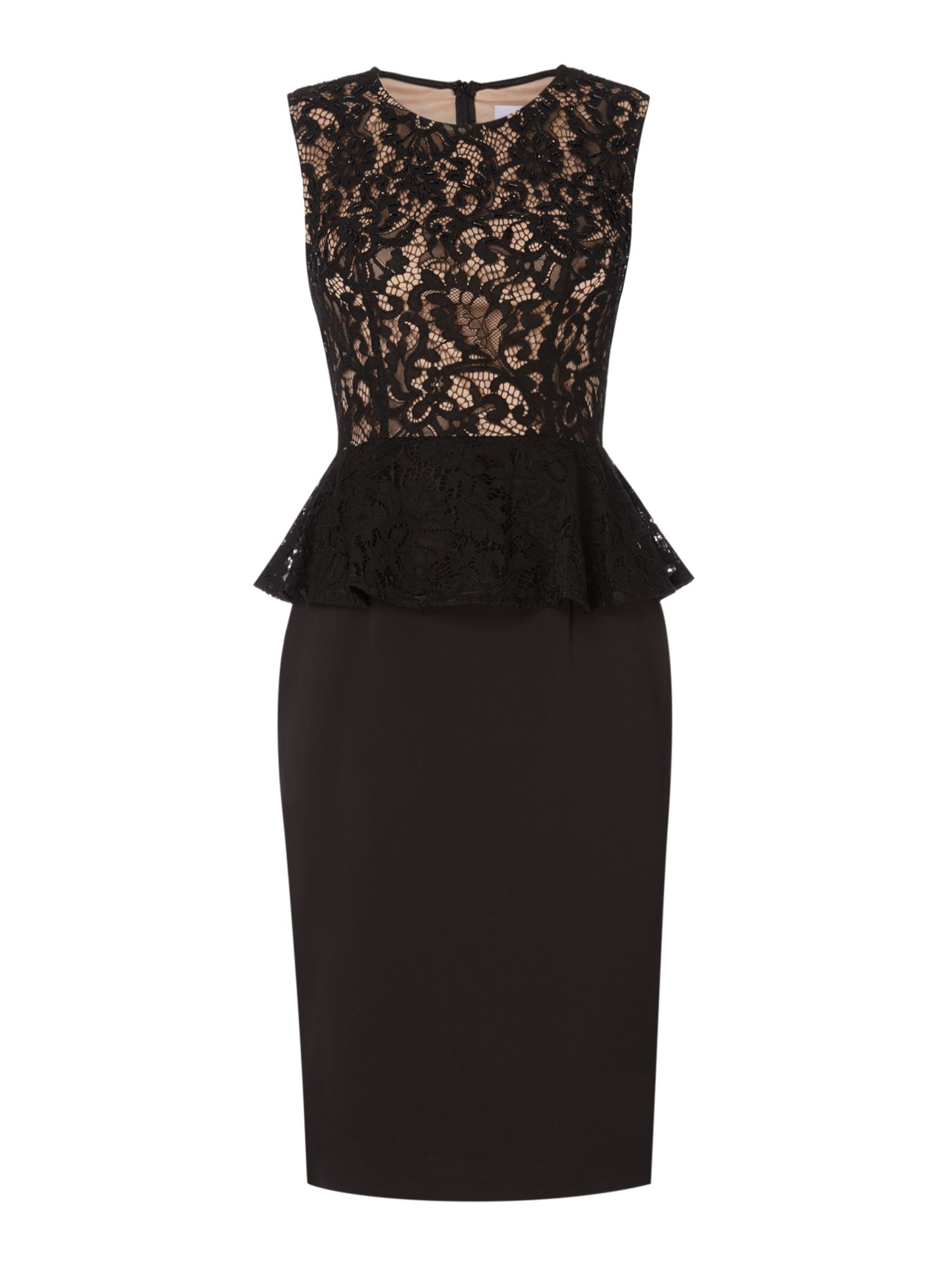 JS Collections Shift dress with lace bodice, Black