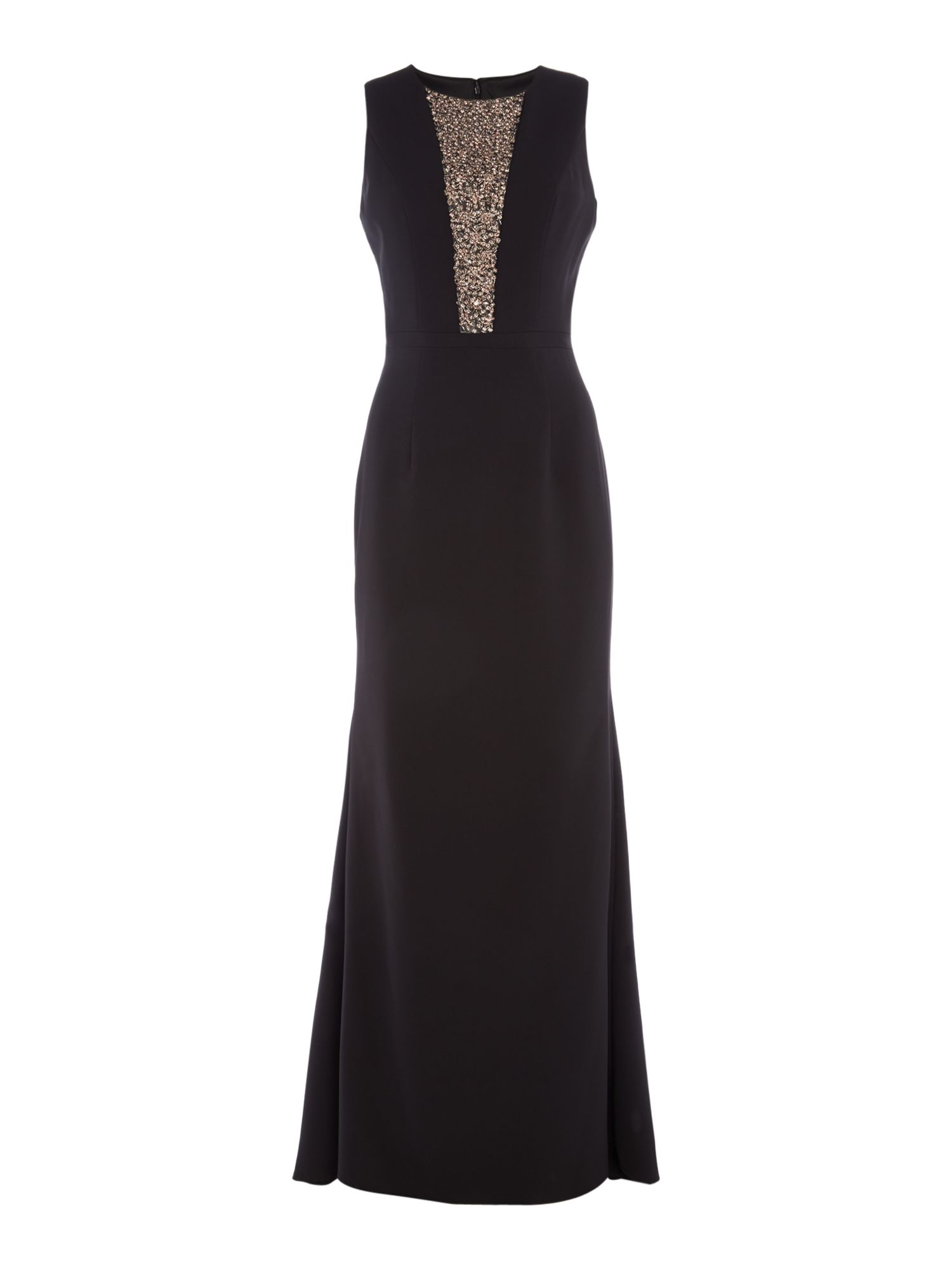 JS Collections Sleeveless dress with embellished panel, Black