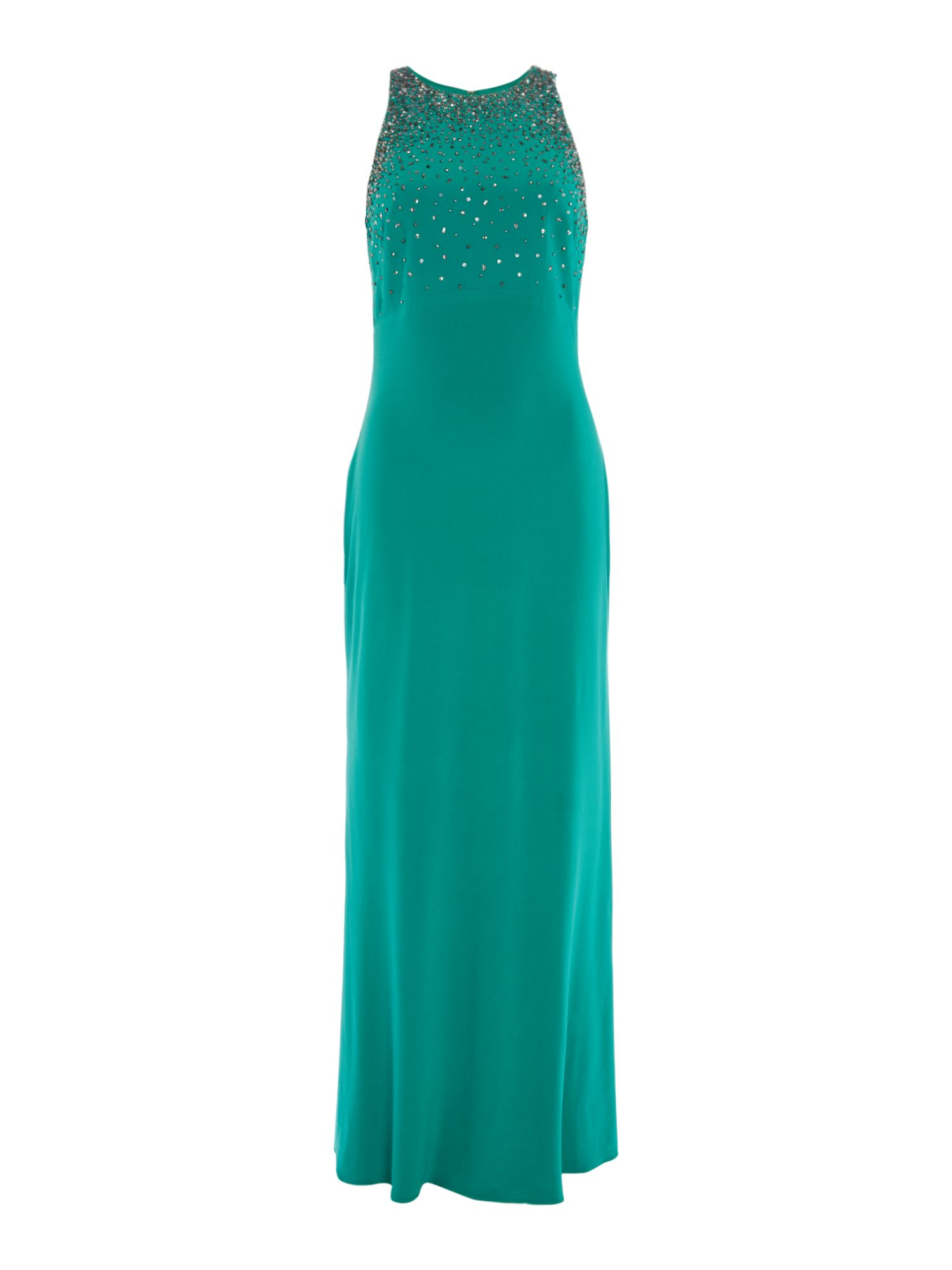 JS Collections High neck embellished gown, Green