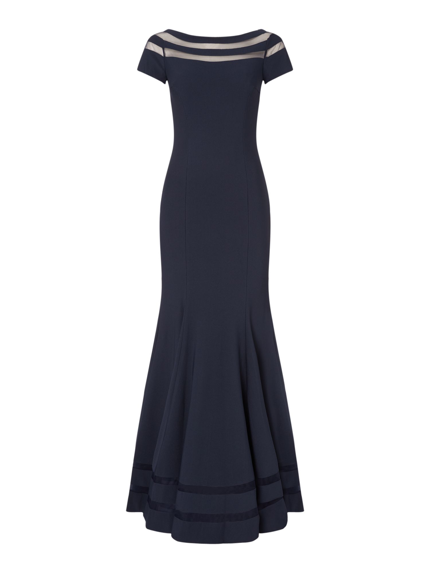 JS Collections Mesh top gown, Blue