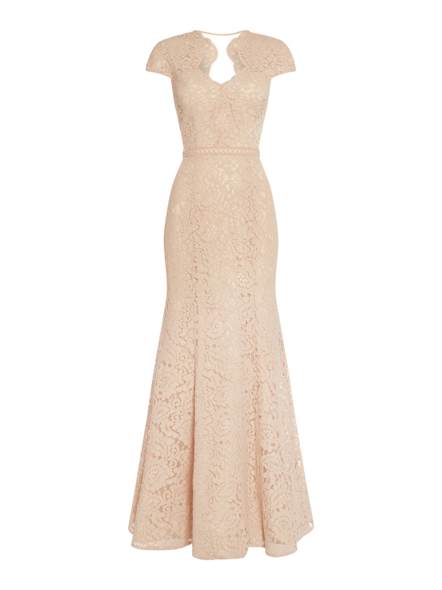 JS Collections Lace gown with sweetheart neck, Rose