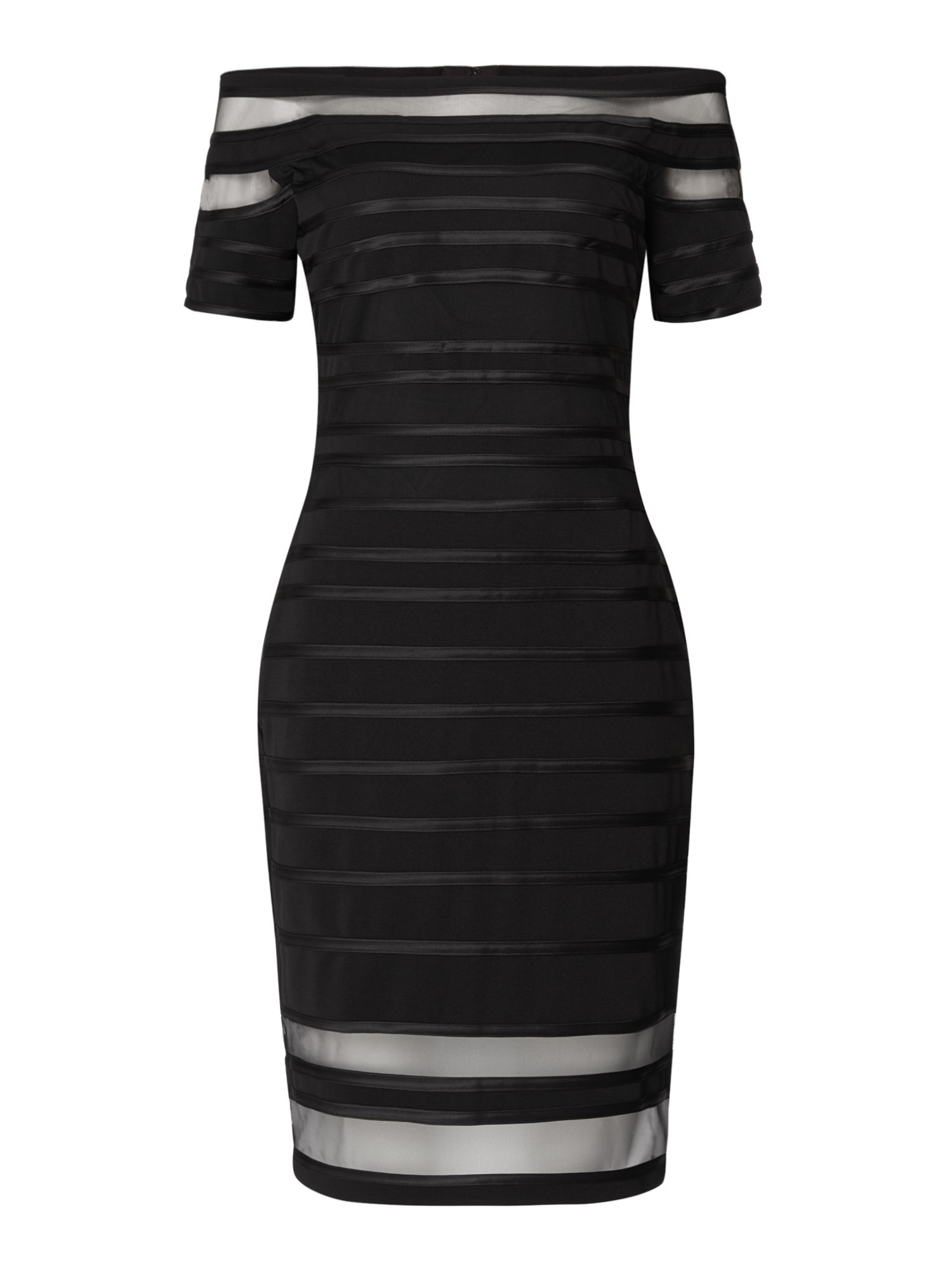 JS Collections Shift dress with mesh panel, Black