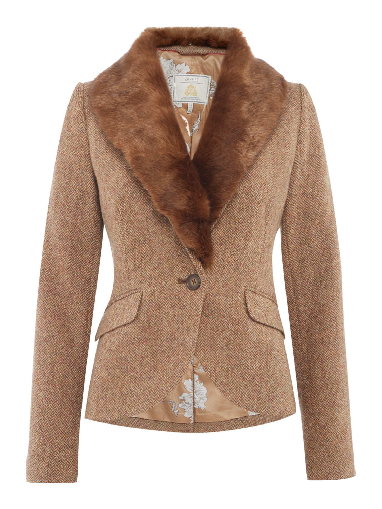 Joules Wilomena Tweed Jacket with Faux Fur Collar, Camel