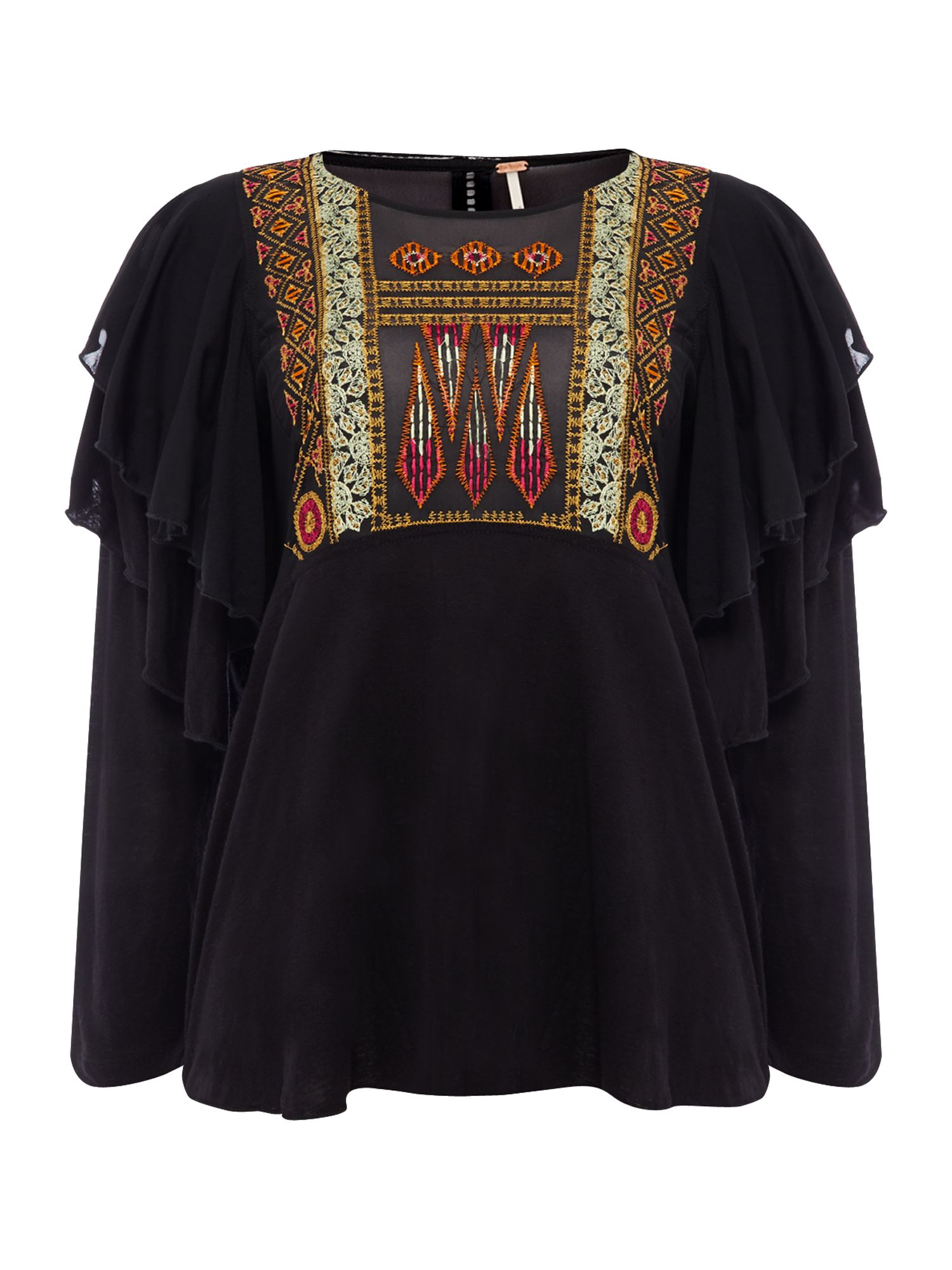Free People La Cienga Frilled Top With Emroidery, Black