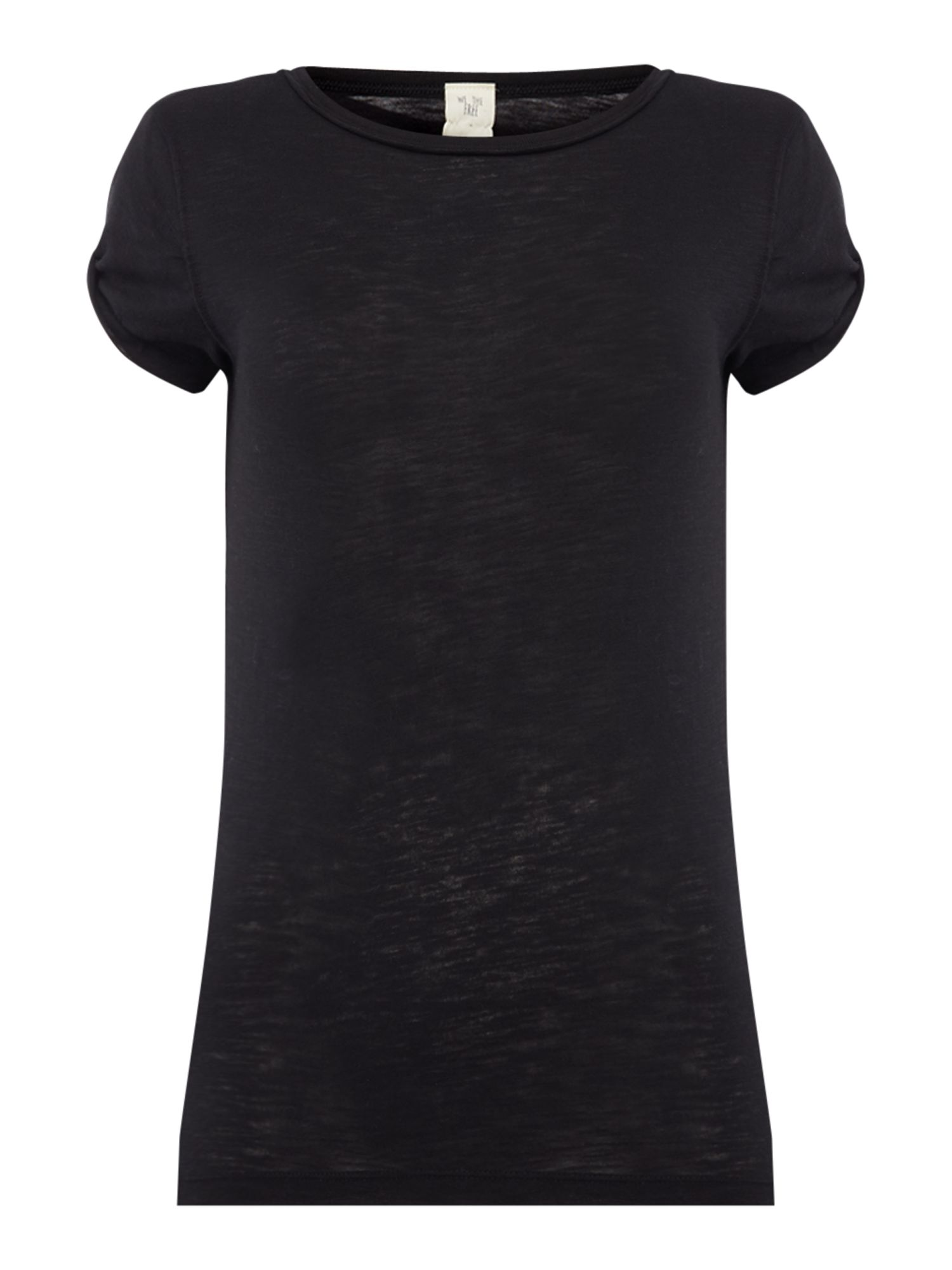 Free People Clare Round Neck Short Sleeve Tee, Black