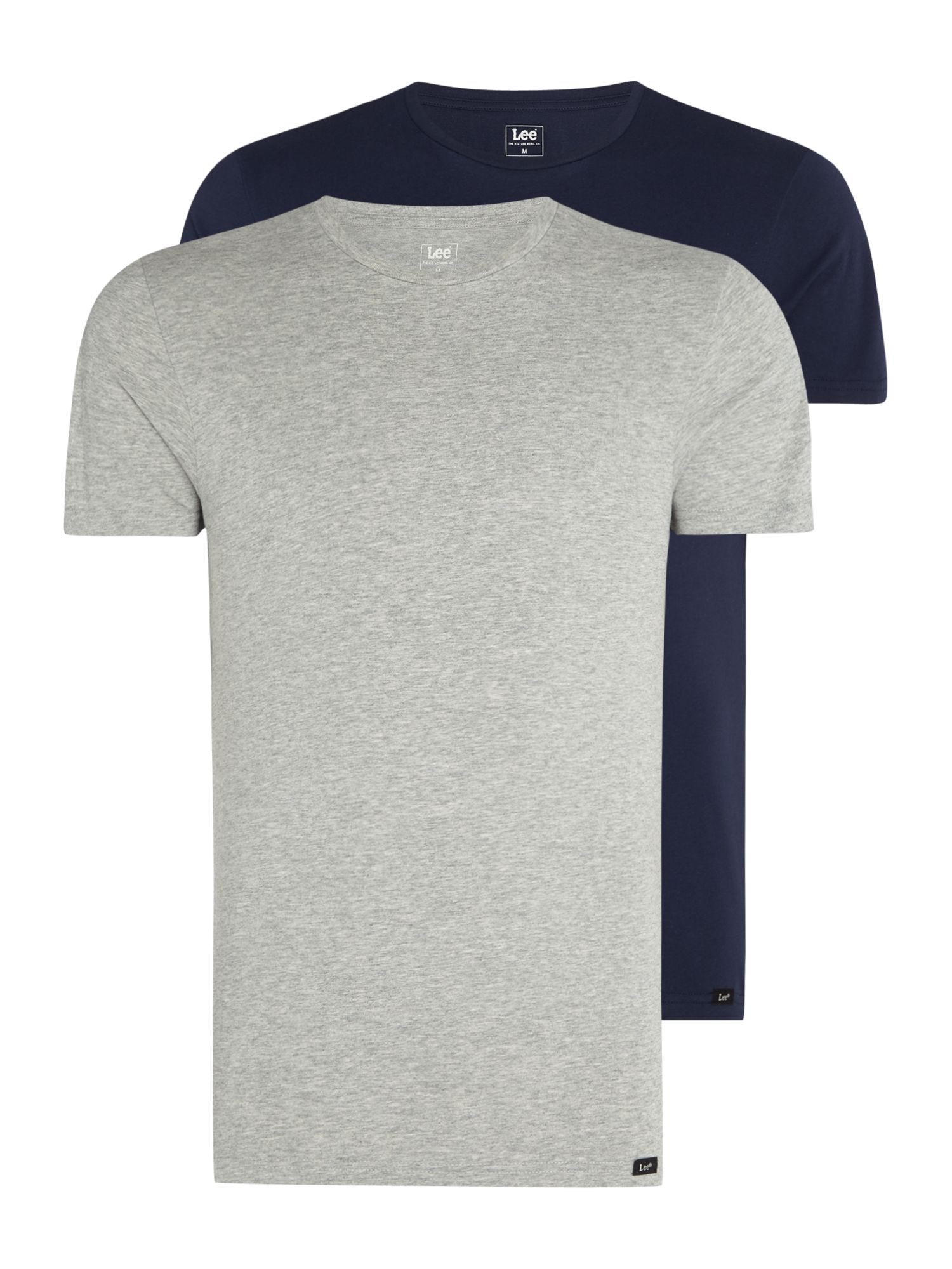 Men's Lee Short sleeve t-shirt twin pack, Grey Marl & Indigo
