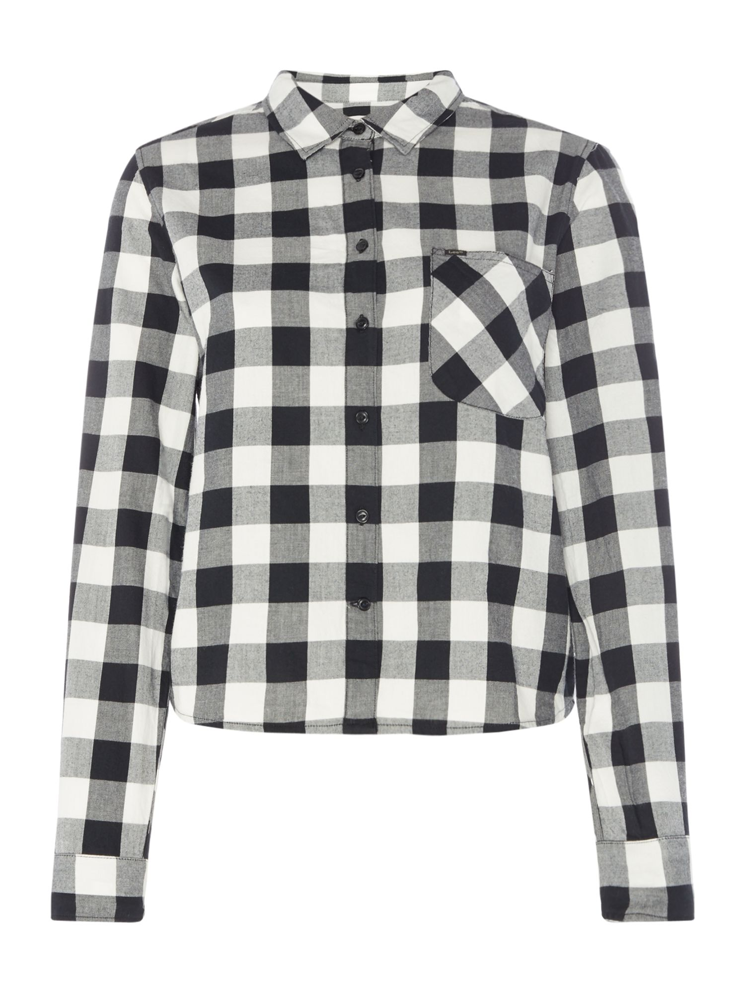 Lee Relaxed Fit Long Sleeved Gingham Shirt, Black