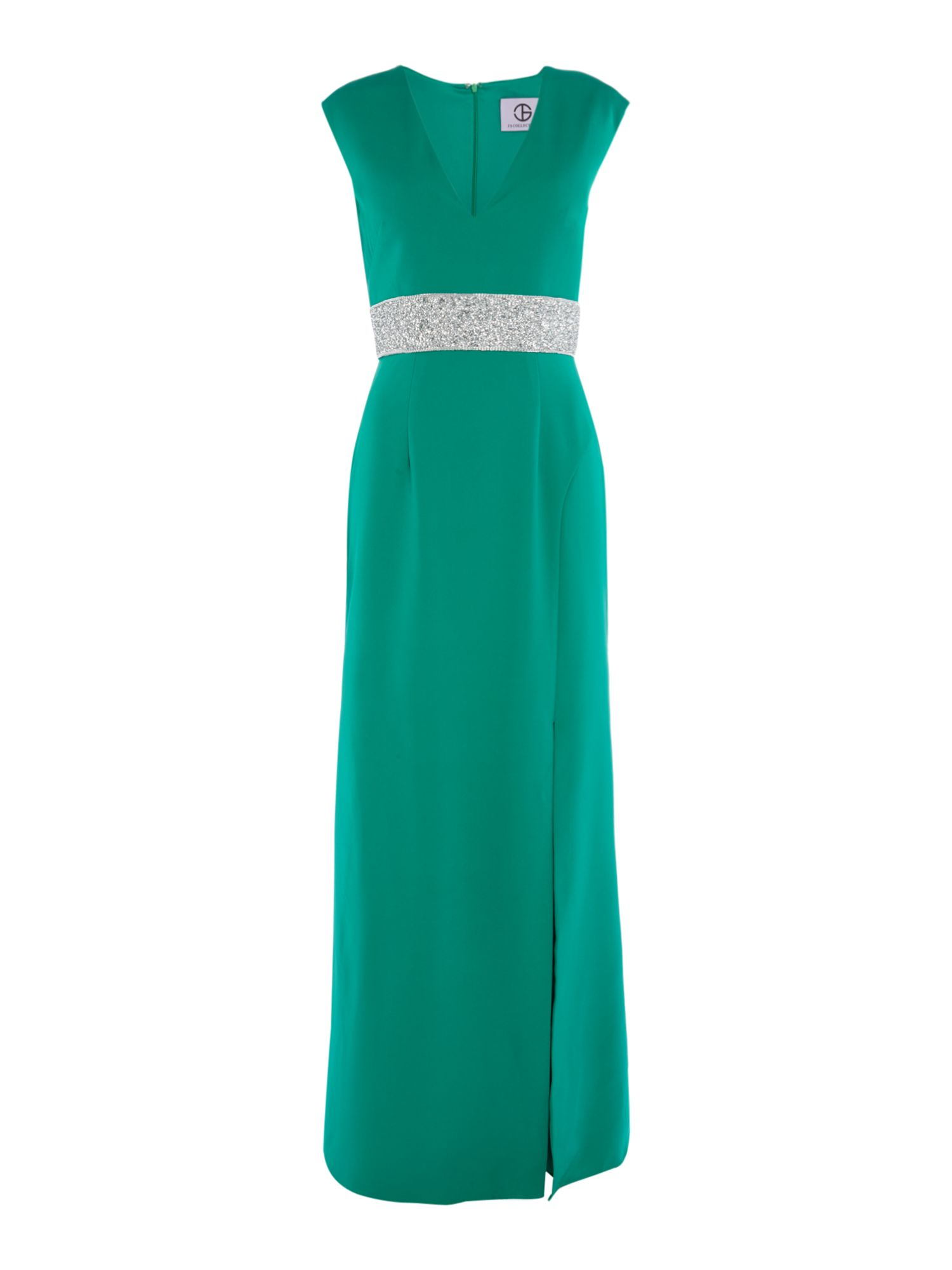 JS Collections Embellished maxi, Green