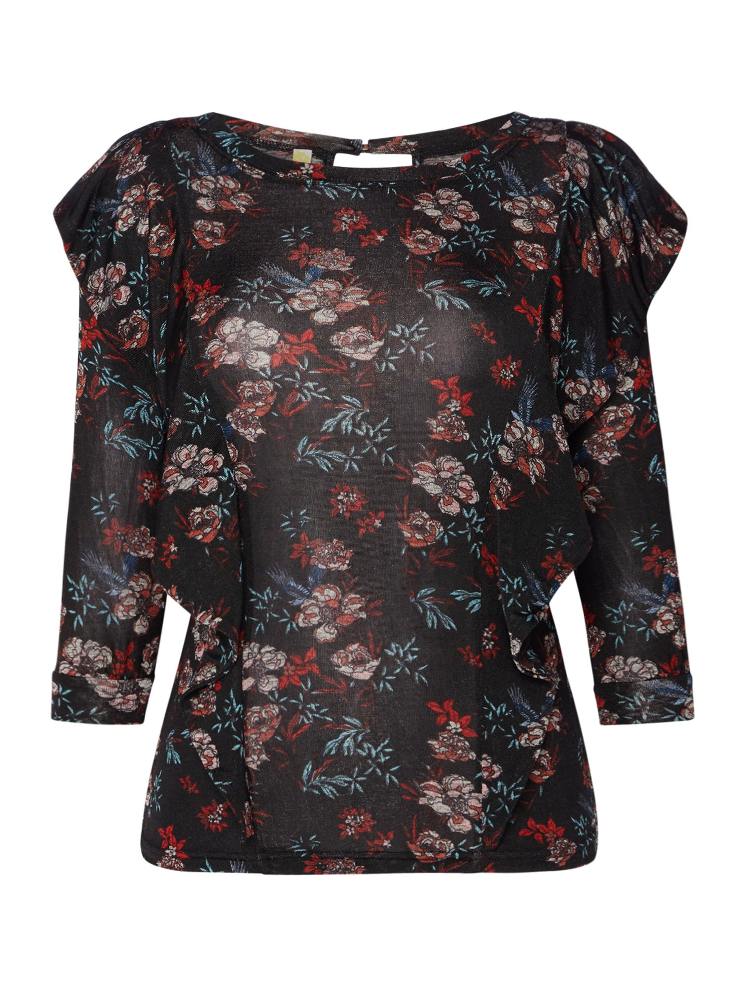 Free People Dock Street Long Frill Sleeve Floral Print Top, Black