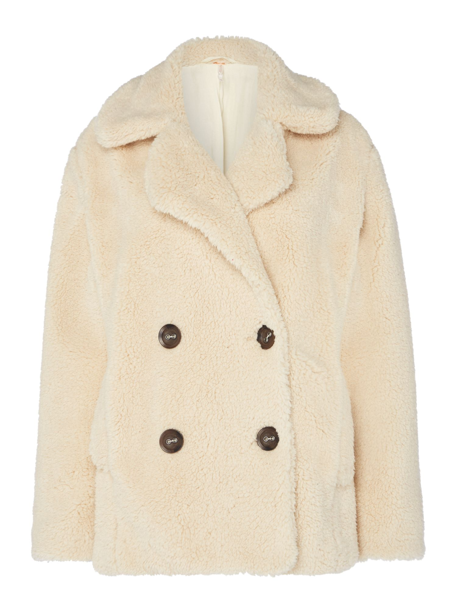 Free People Notched Teddy Style Buttun Up Pea Coat, White