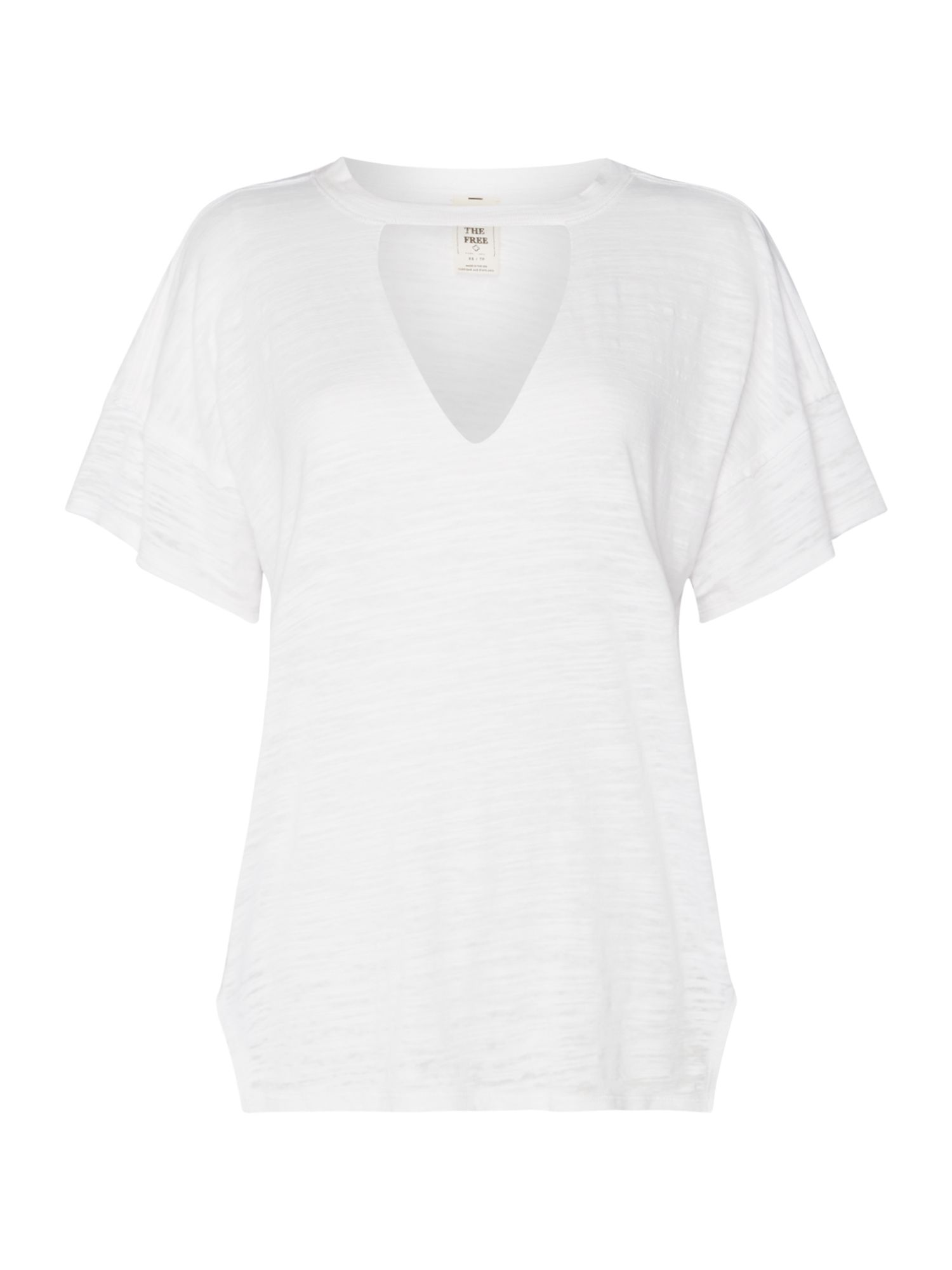 Free People Jordan Short Sleeve V-Neck T-Shirt, White