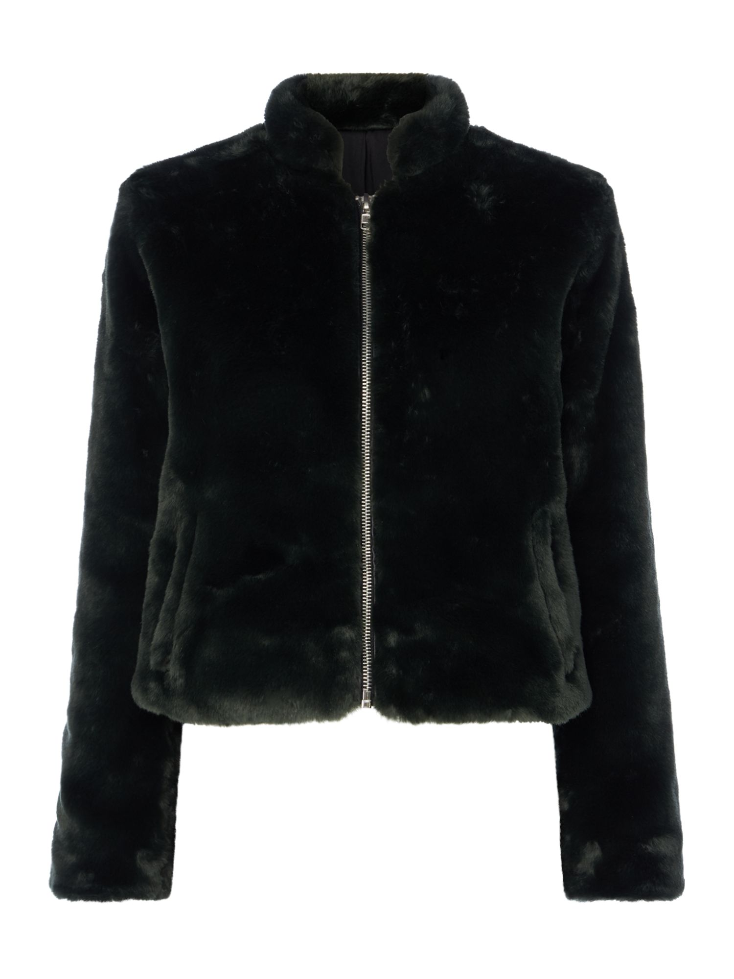 Free People Faux Fur Zip Up Bomber Jacket, Green