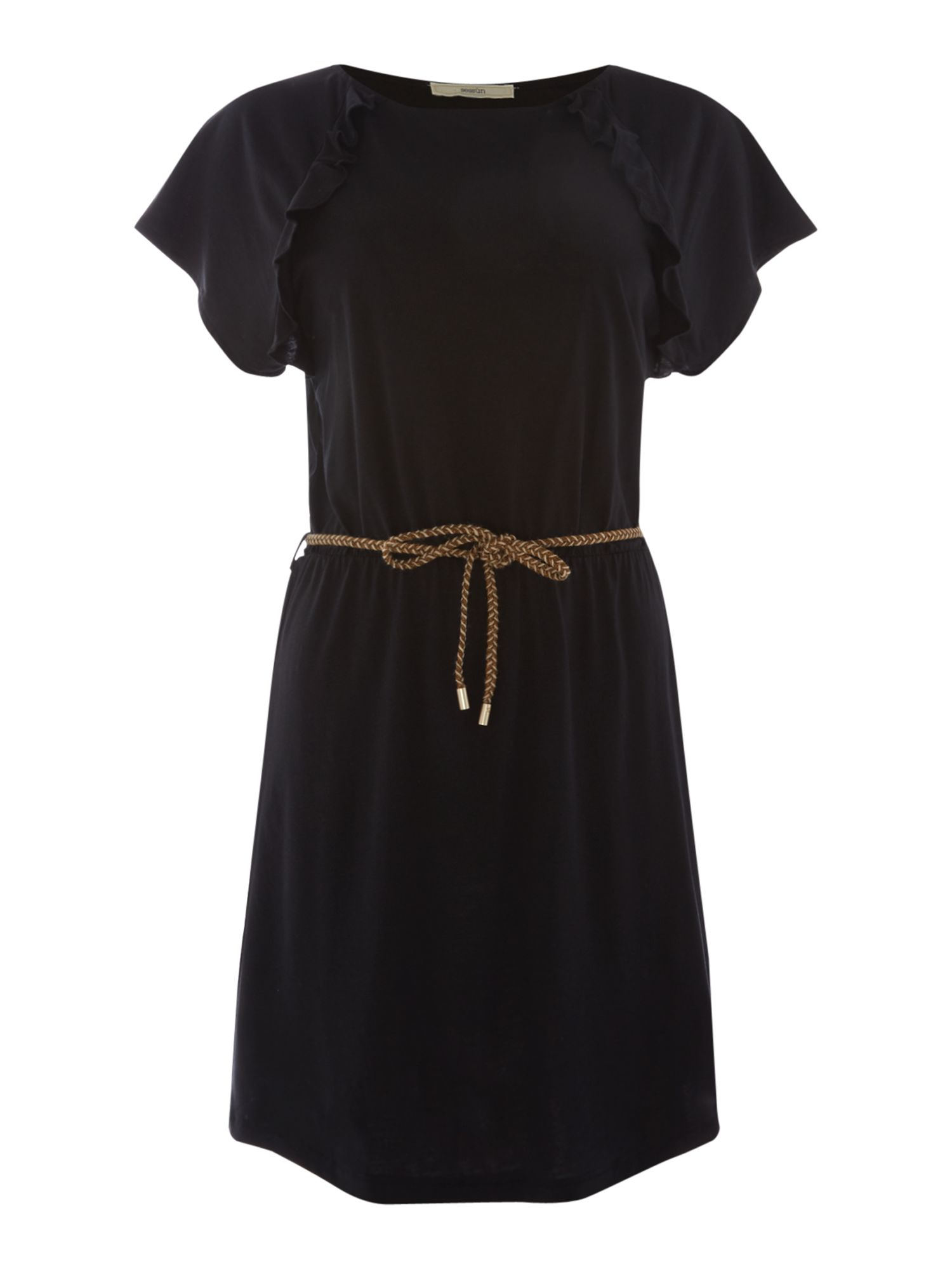 Sessun Sylva ruffle tie waist dress, Black