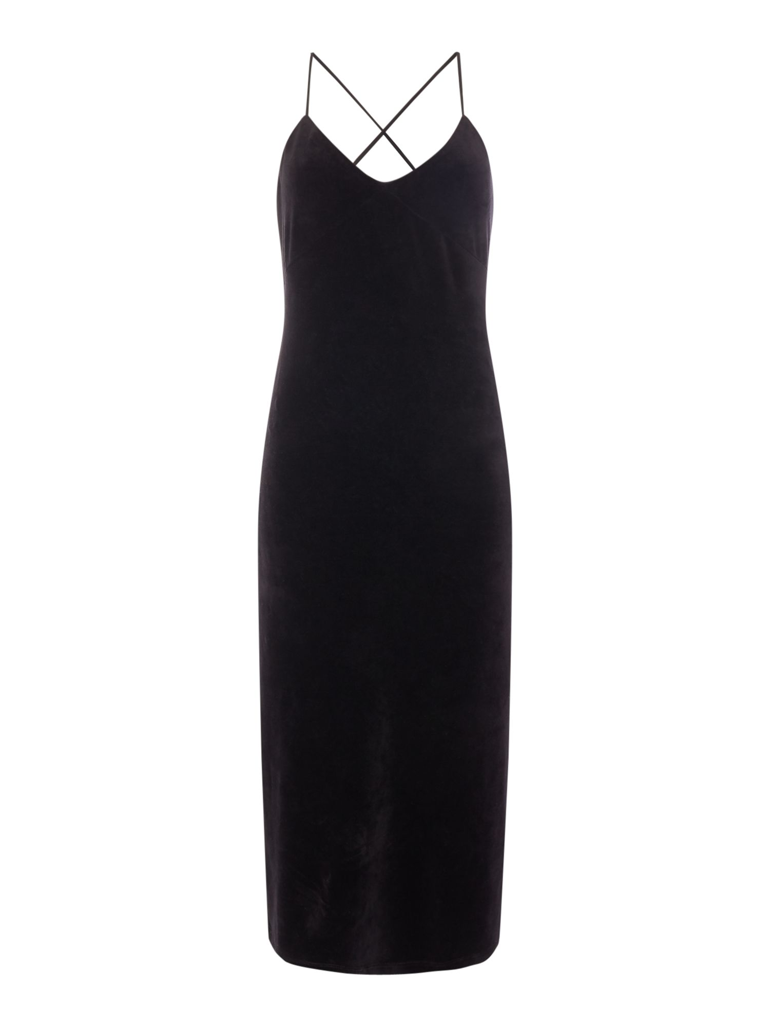 Juicy by Juicy Couture Stretch Velour Cross Back Slip Dress, Black