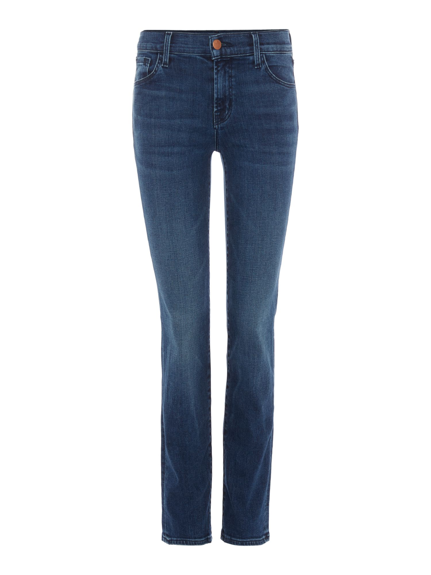 Maude Mid Rise Cigarette Jeans In Swift, Denim Mid Wash
