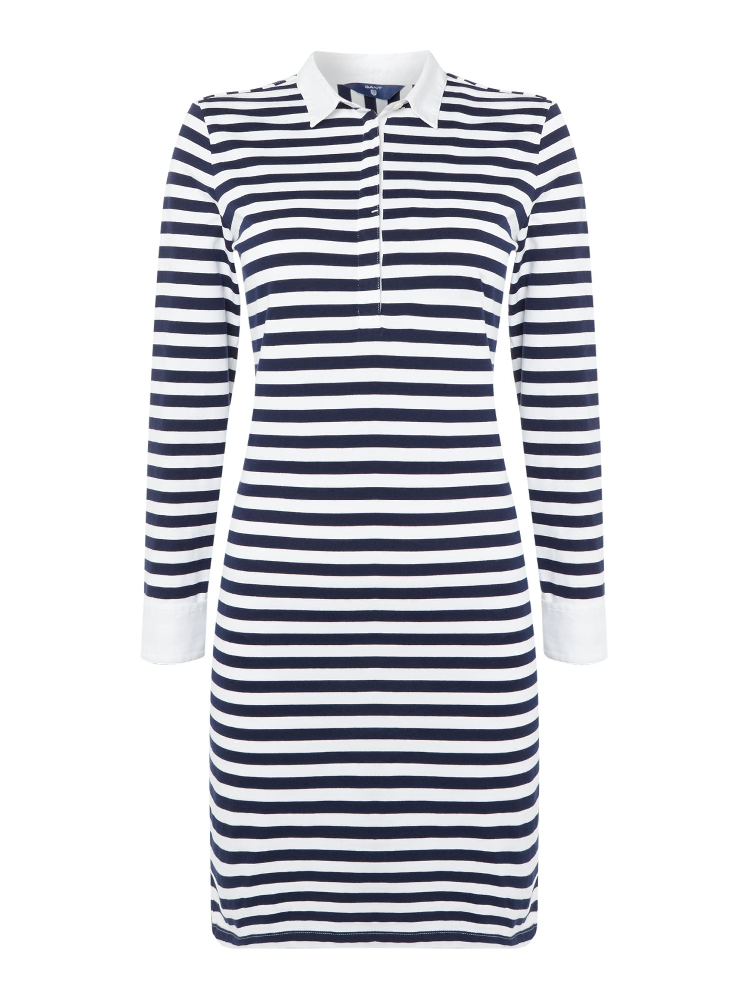 GANT Long Sleeve Striped Dress With Collar, White