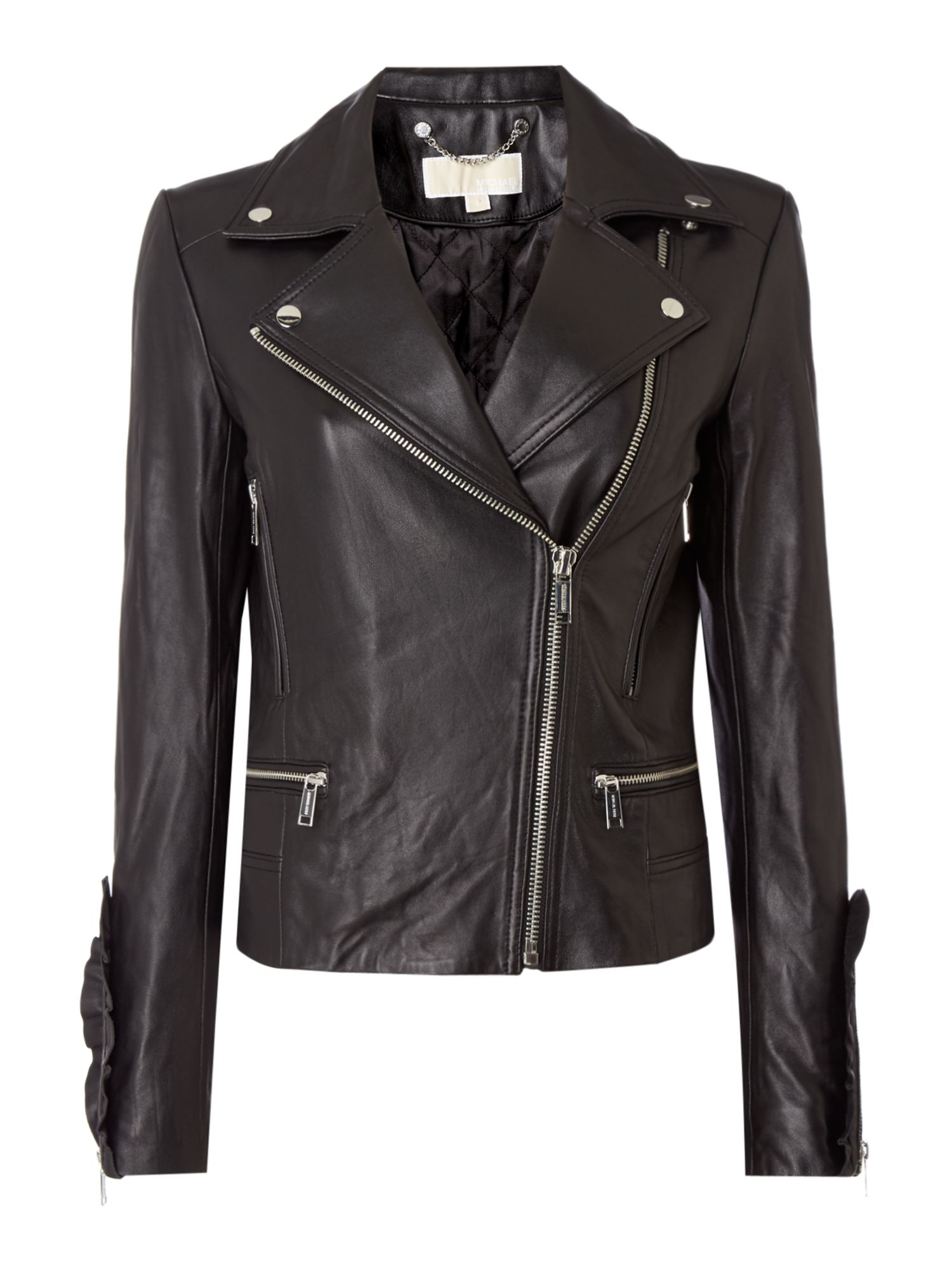Michael Kors Studded And Frill Sleeve Detail Leather Jacket, Black