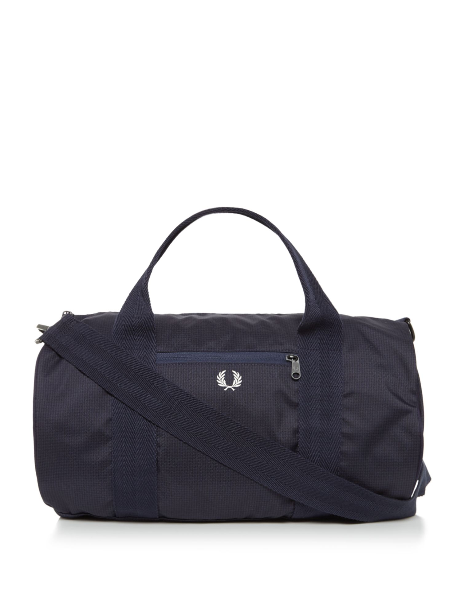 Fred Perry Checked Twill Barrel Bag, Blue