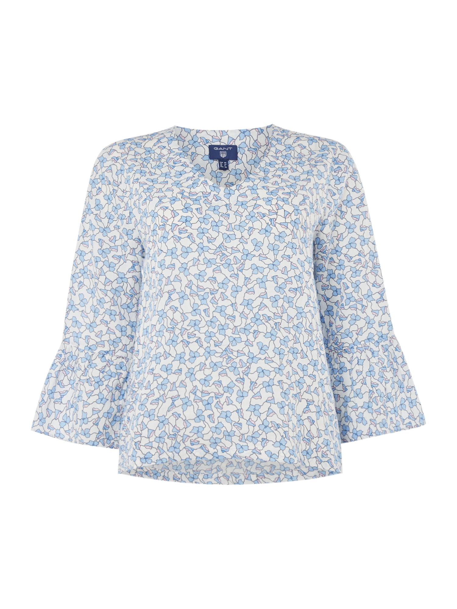 GANT Linked Floral Print Bell Sleeve Top, White