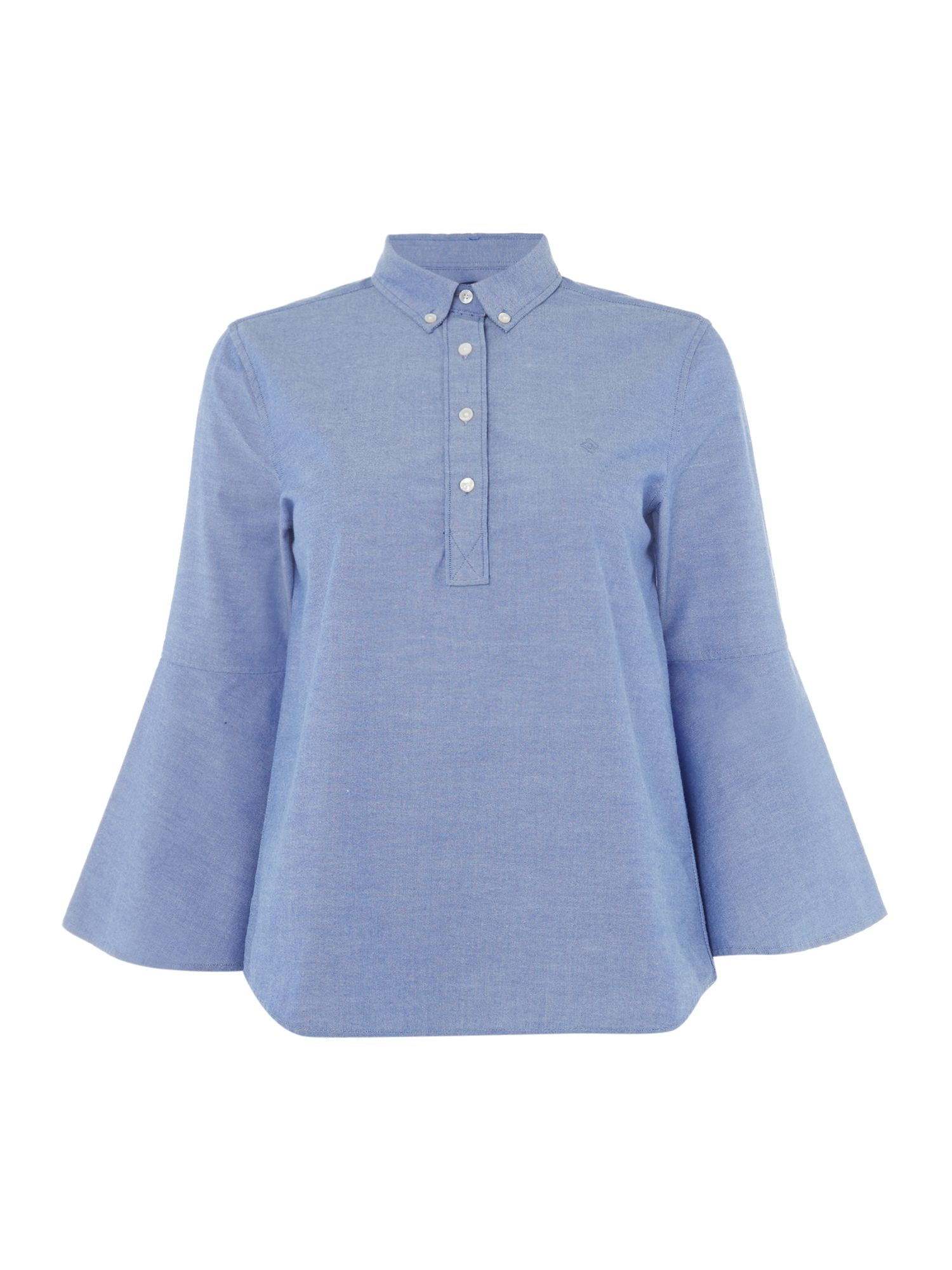 GANT Bio Oxford Popover Shirt With Frill Sleeve, Blue