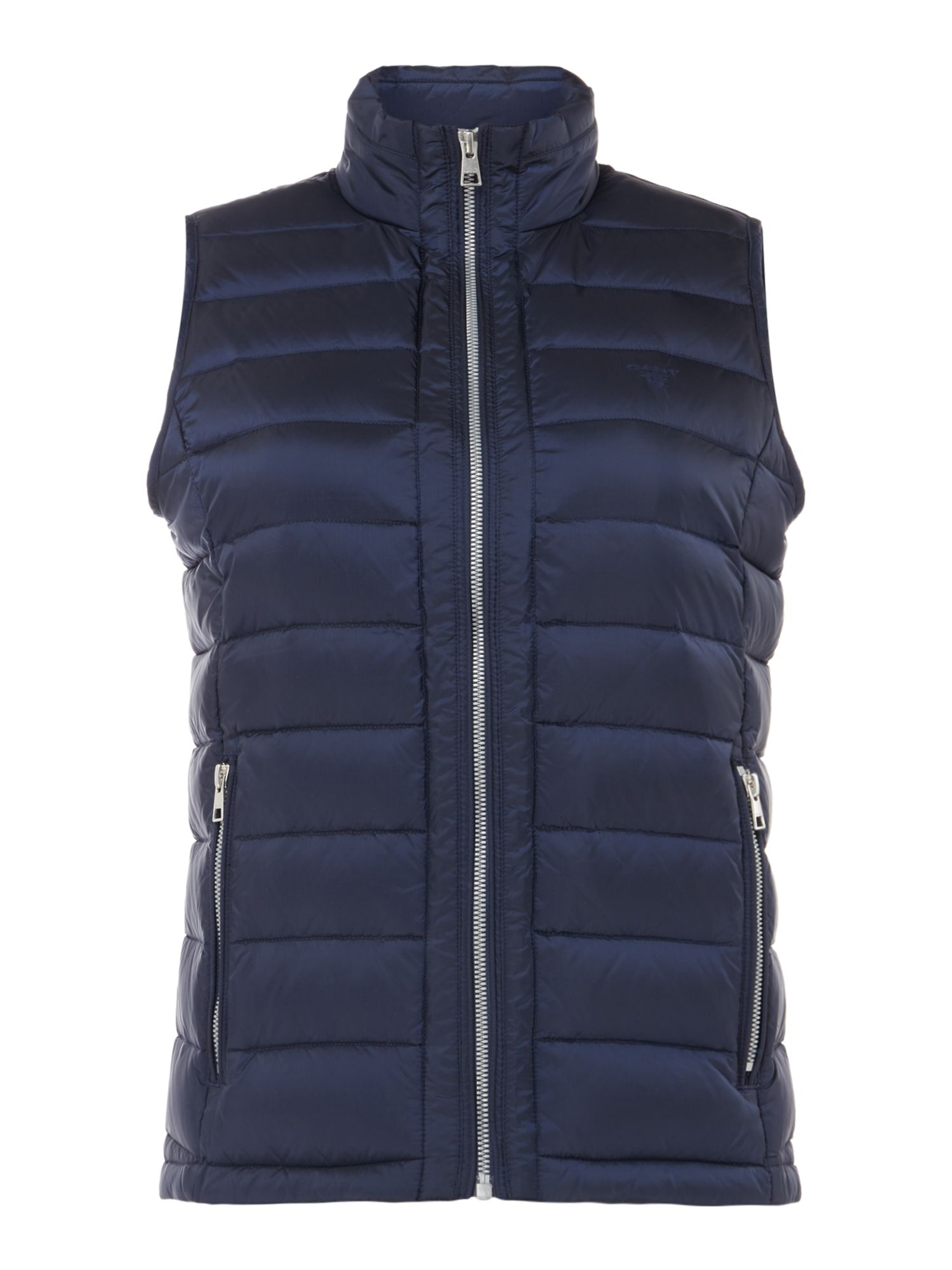 GANT Light Weight Down Quilted Vest With Zip Pockets, Blue