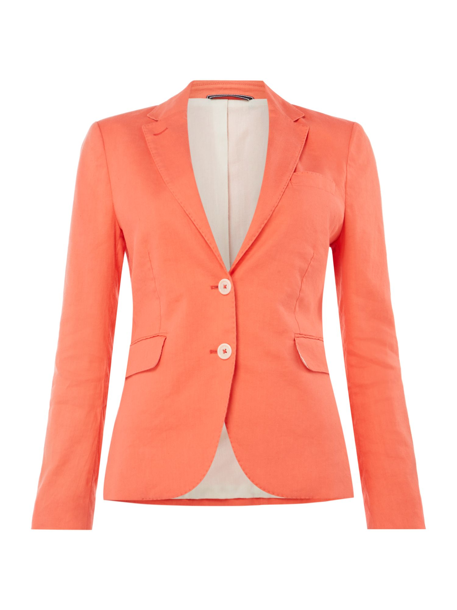 GANT Button Up Linen Blazer With Breast Pocket, Hot Coral