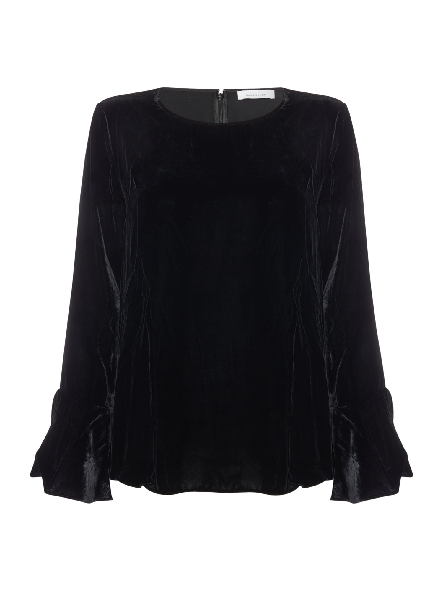 Samsoe and Samsoe Serena Velvet Bell Sleve Top, Black